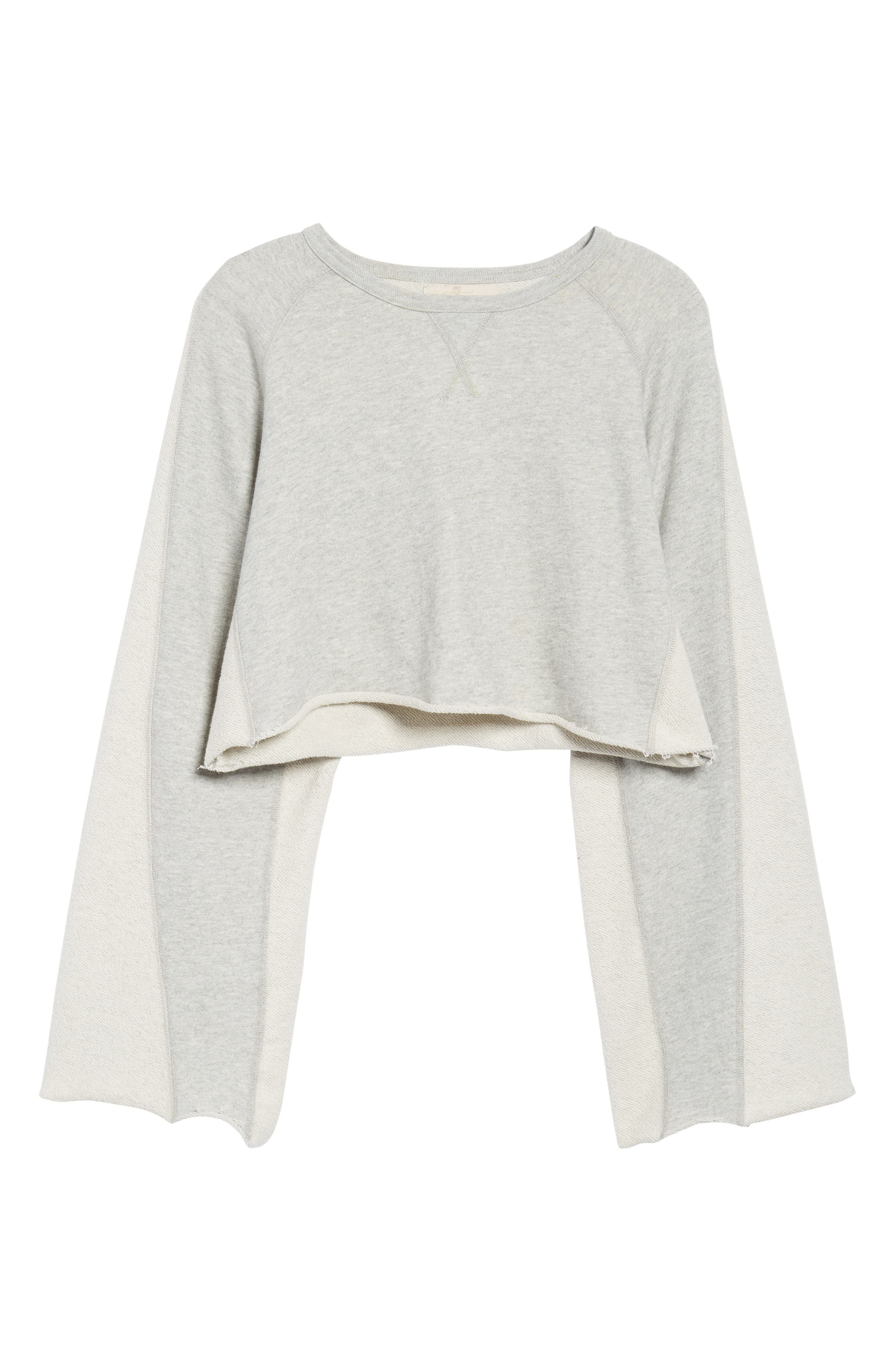 Flare Sleeve Crop Sweatshirt,                             Alternate thumbnail 6, color,                             Heather Grey