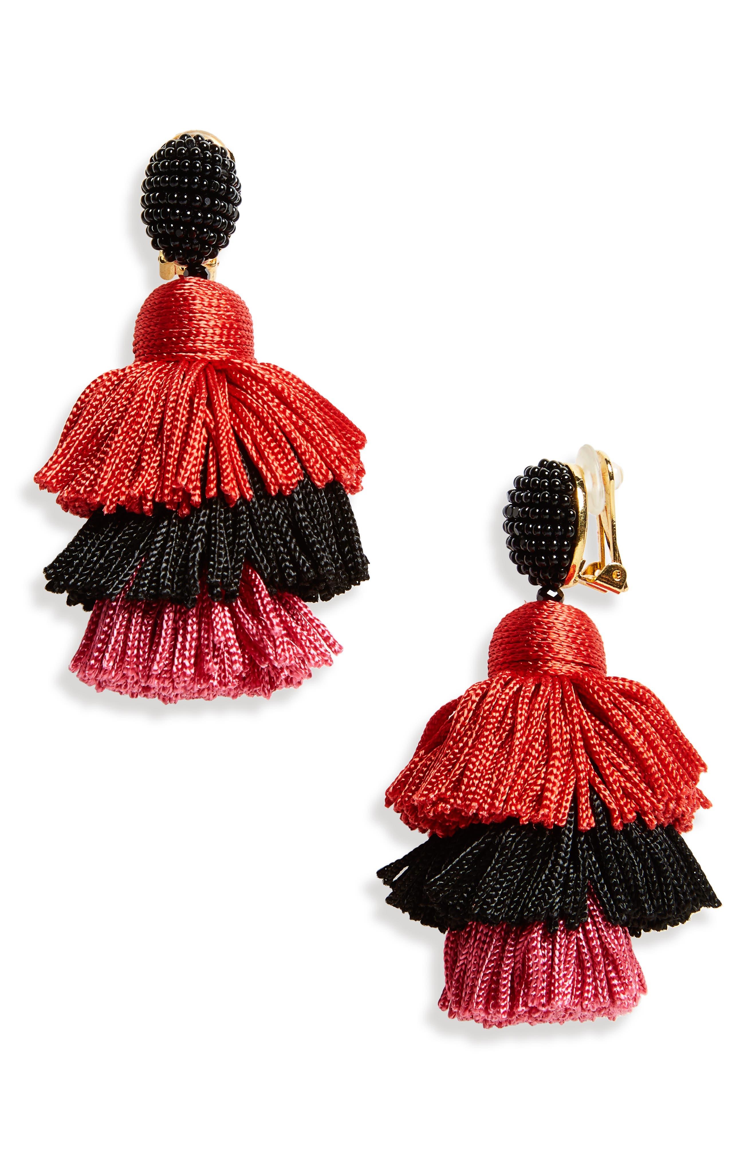Clip Tassel Drop Earrings,                         Main,                         color, Black