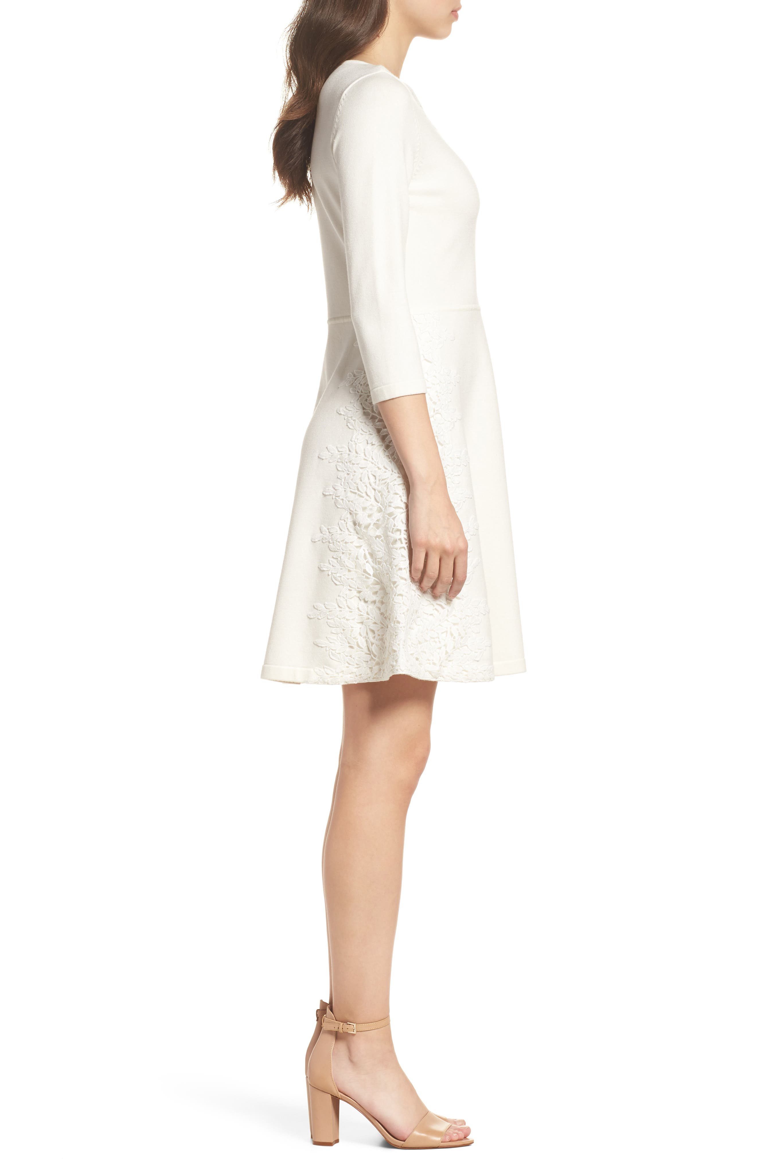 Lace Overlay Sweater Dress,                             Alternate thumbnail 3, color,                             Ivory