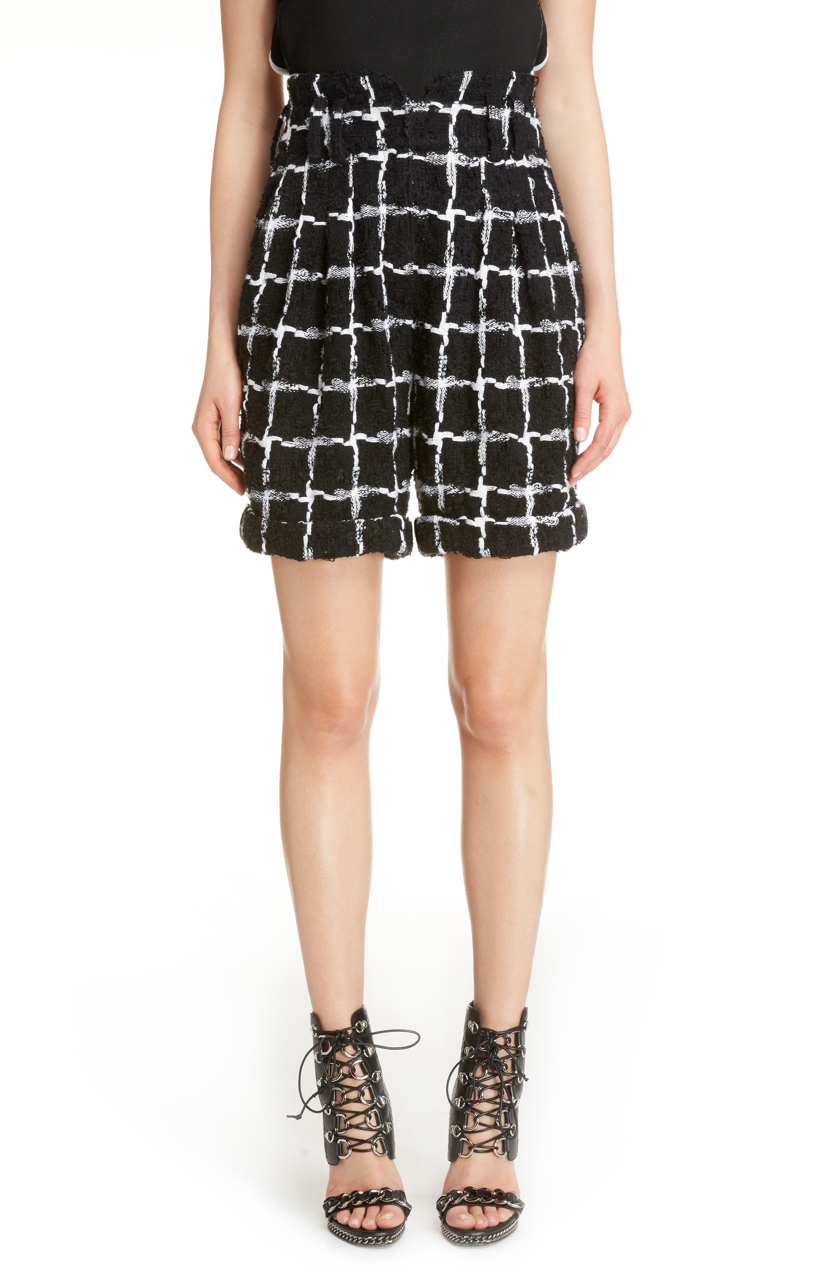 Windowpane Check Bouclé Shorts,                             Main thumbnail 1, color,                             Black/ White