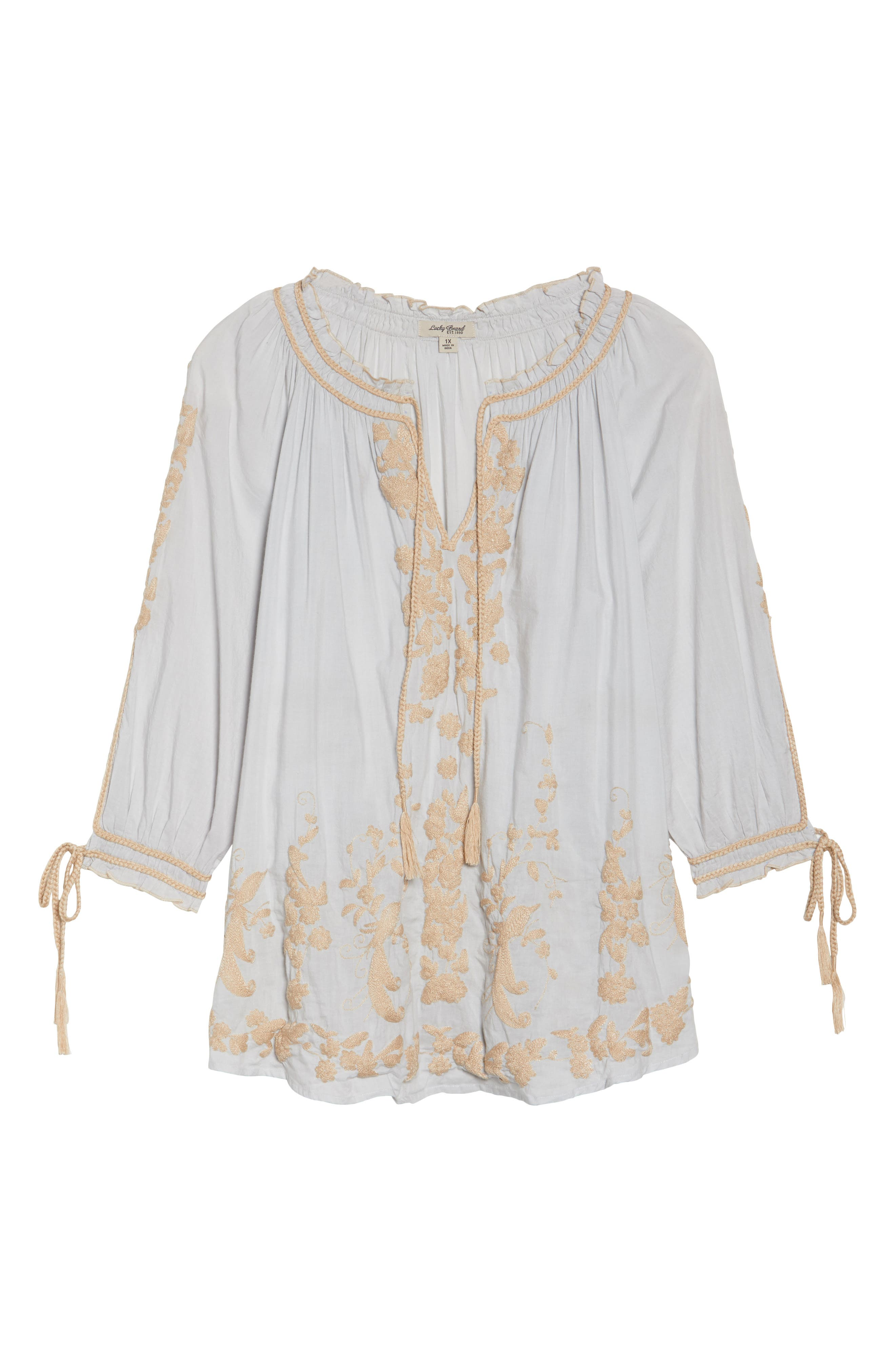 Embroidered Peasant Top,                             Alternate thumbnail 6, color,                             Ice