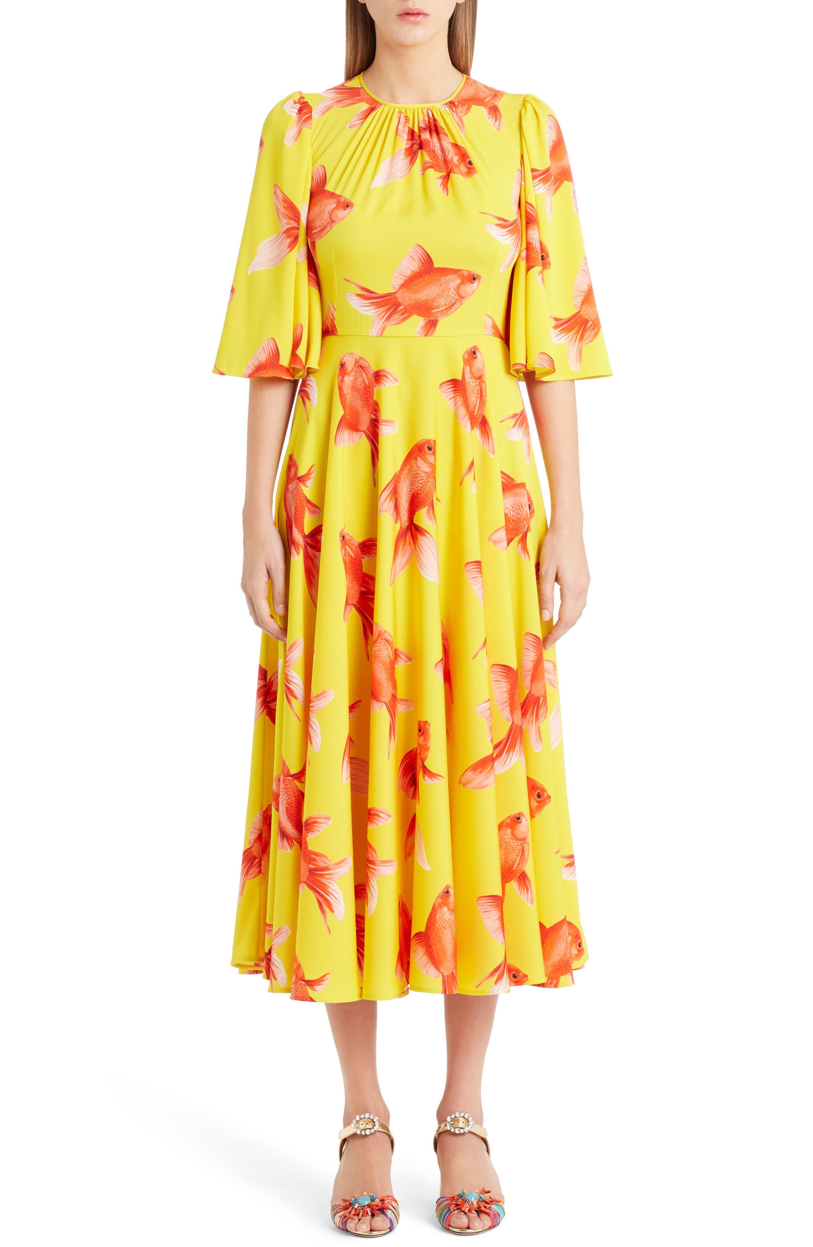 Goldfish Print Silk Blend Charmeuse Dress,                         Main,                         color, Pesci