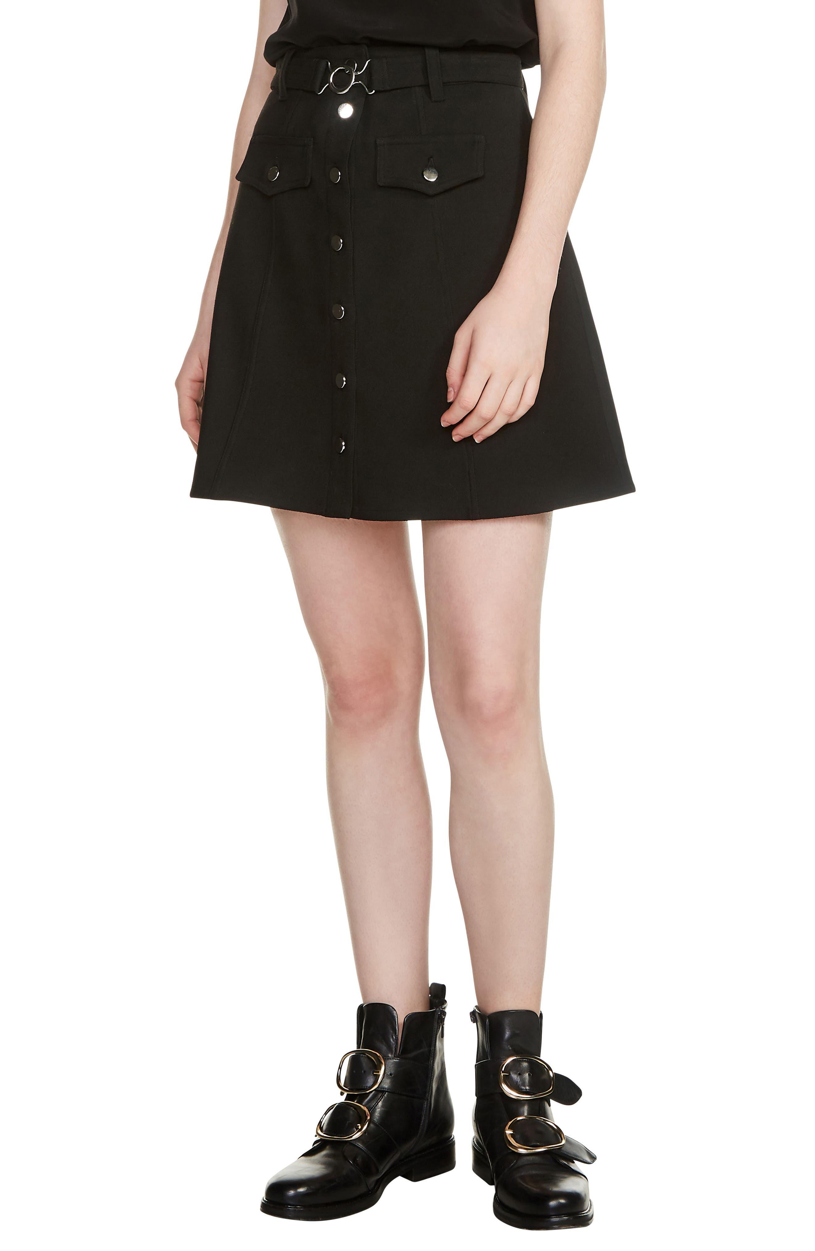 Jibrali Snap Mini Skirt,                             Main thumbnail 1, color,                             Black 210