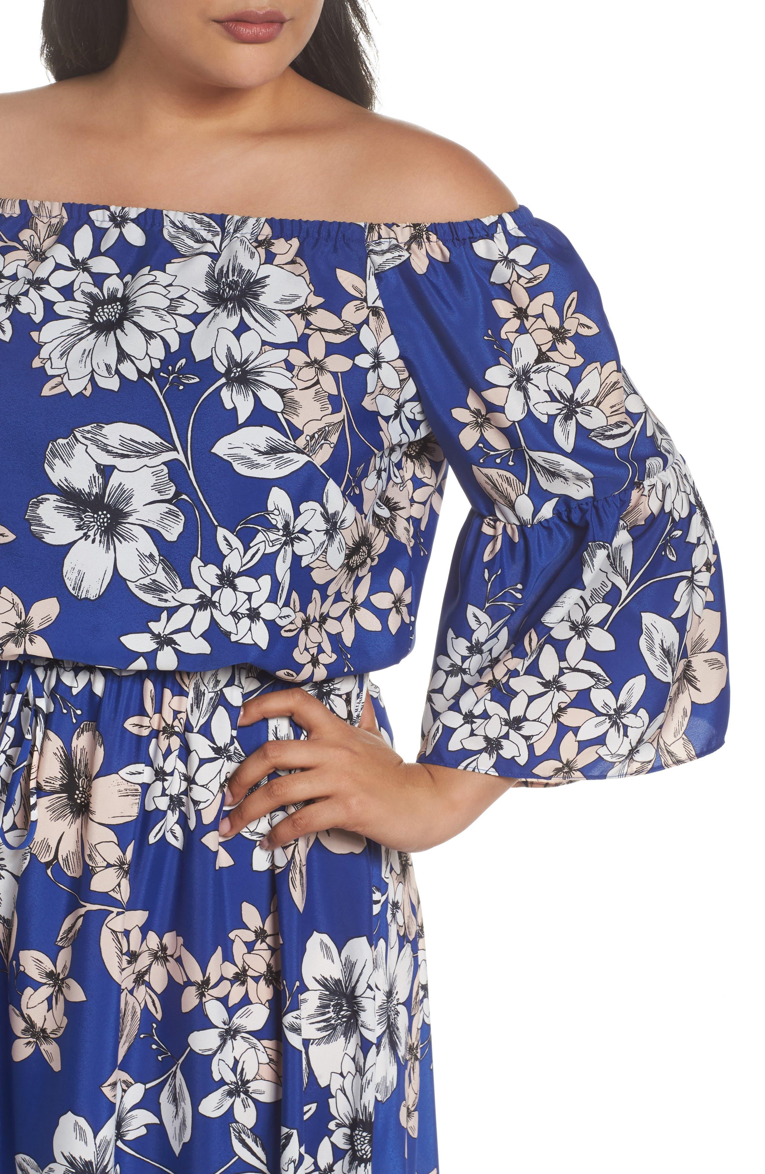 Off the Shoulder Floral Maxi Dress,                             Alternate thumbnail 4, color,                             Cobalt