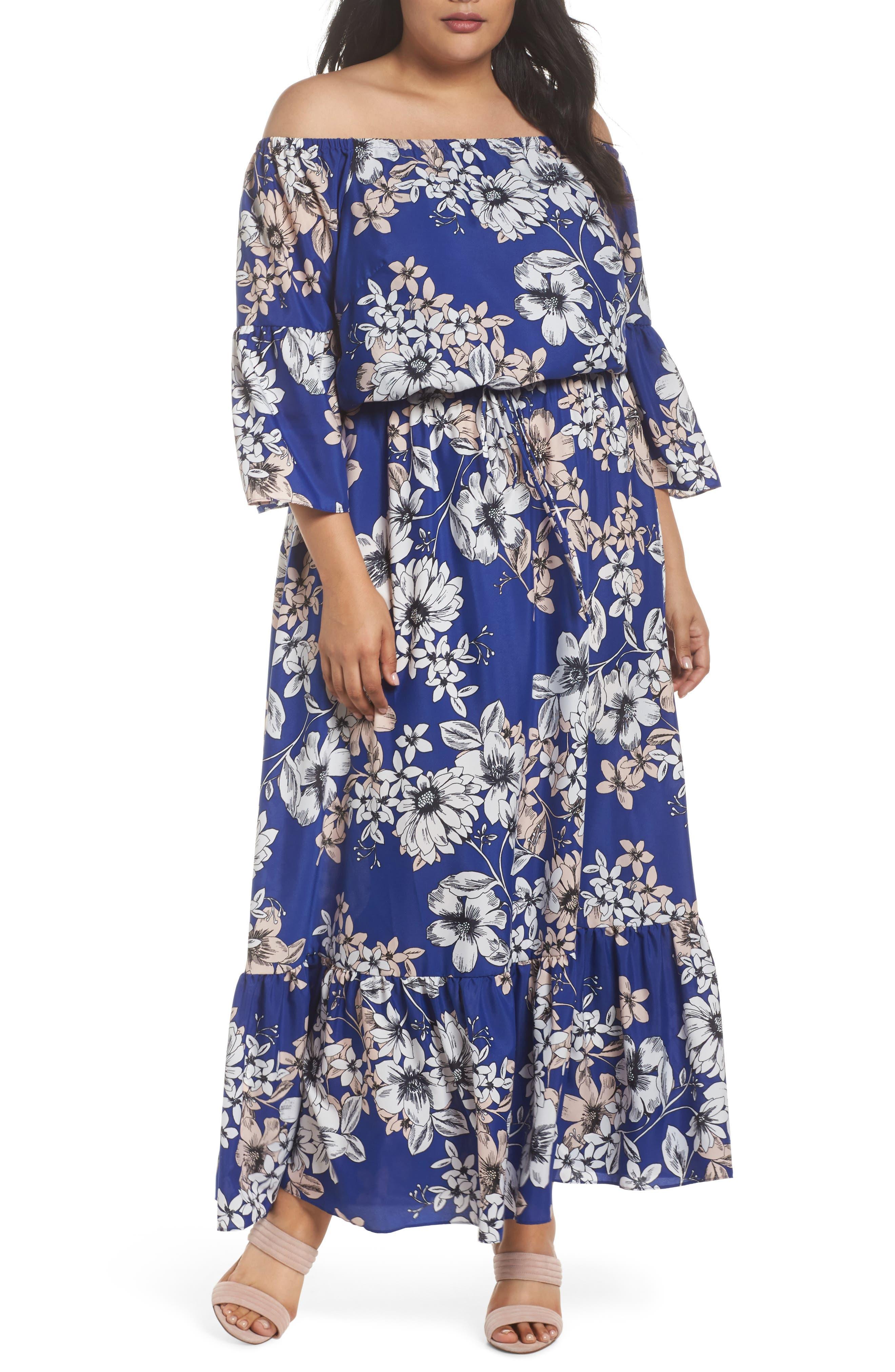 Off the Shoulder Floral Maxi Dress,                         Main,                         color, Cobalt