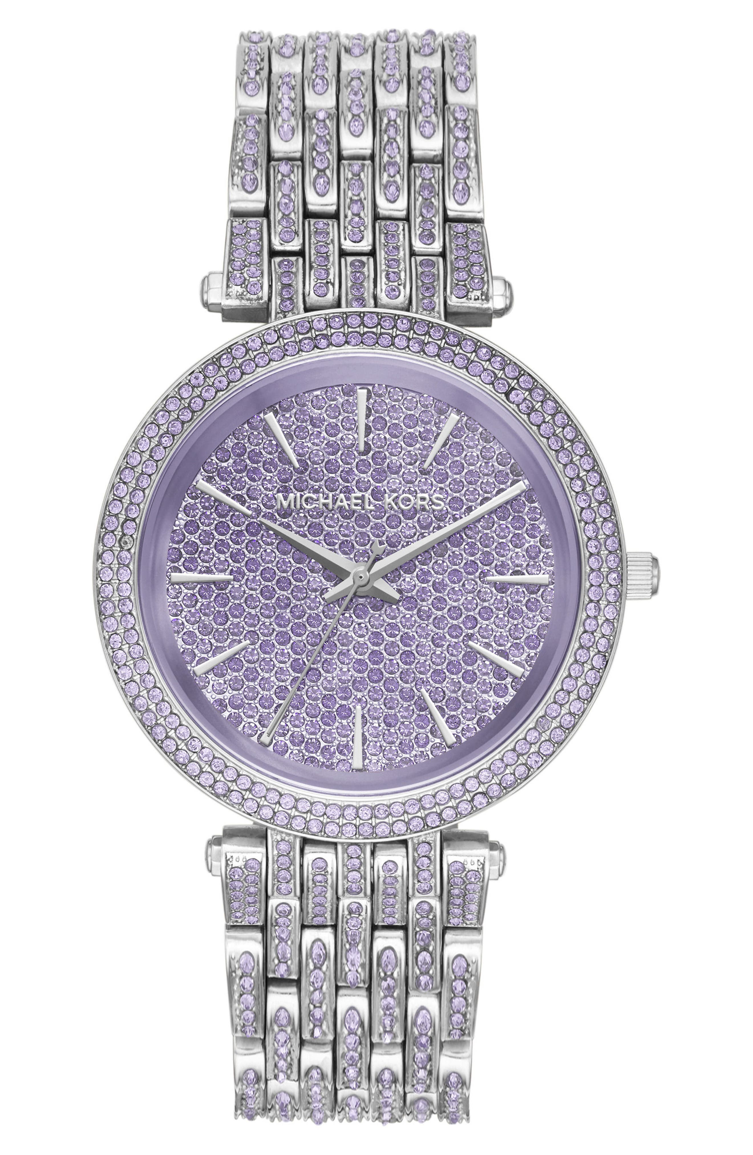 Darci Crystal Bracelet Watch, 39mm,                         Main,                         color, Silver/ White/ Silver