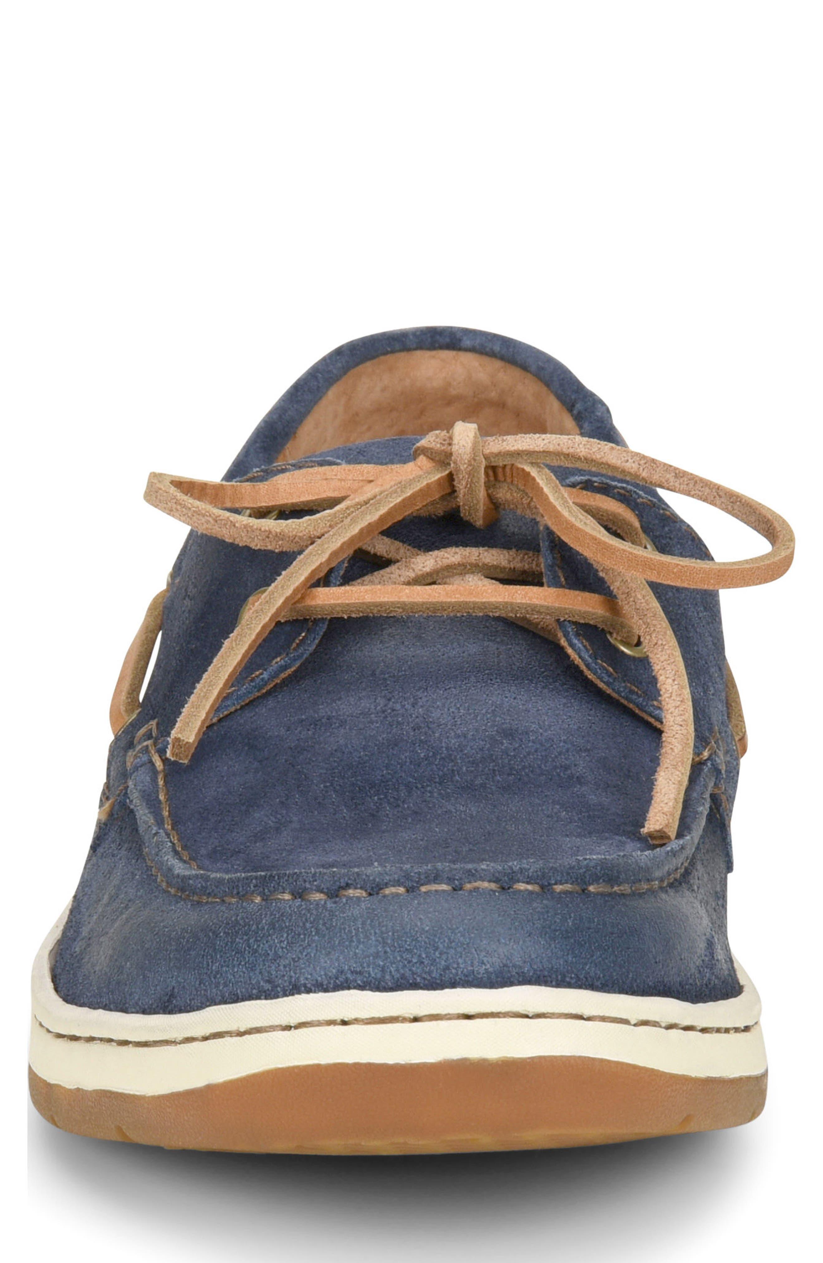 Ocean Boat Shoe,                             Alternate thumbnail 4, color,                             Dark Blue Leather