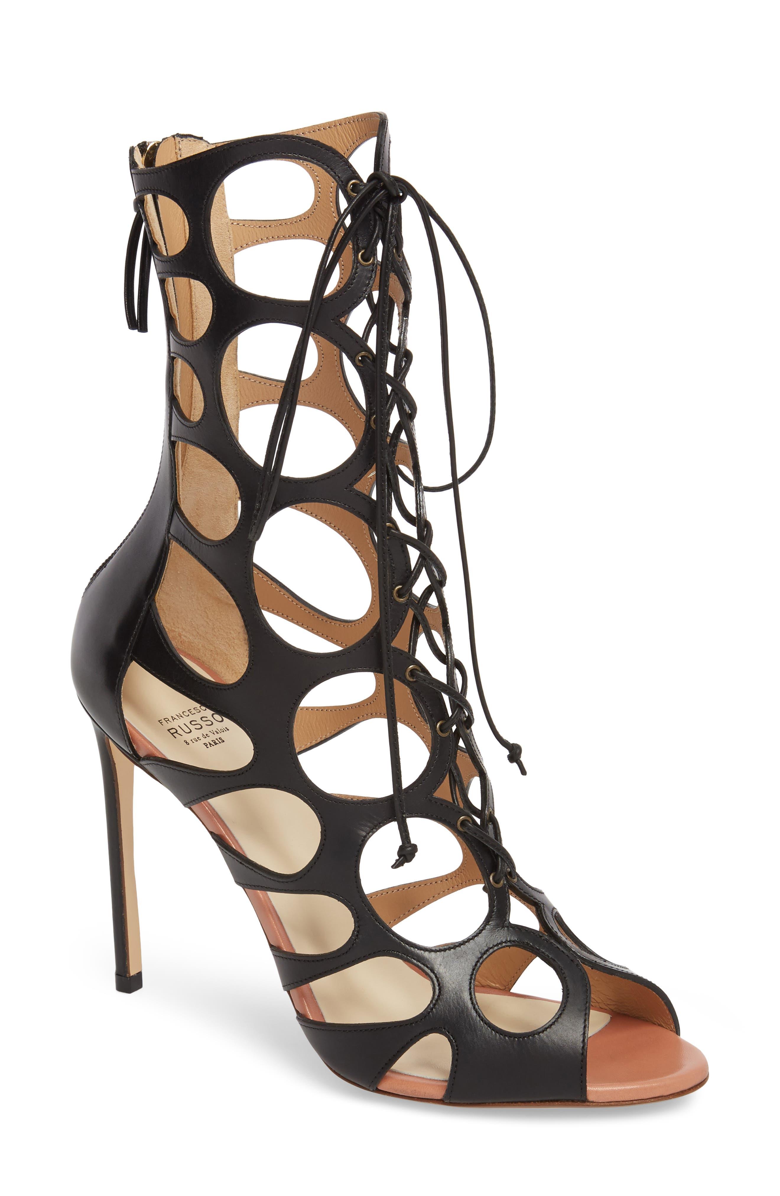 Francesco Russo Caged Bootie Sandal (Women)
