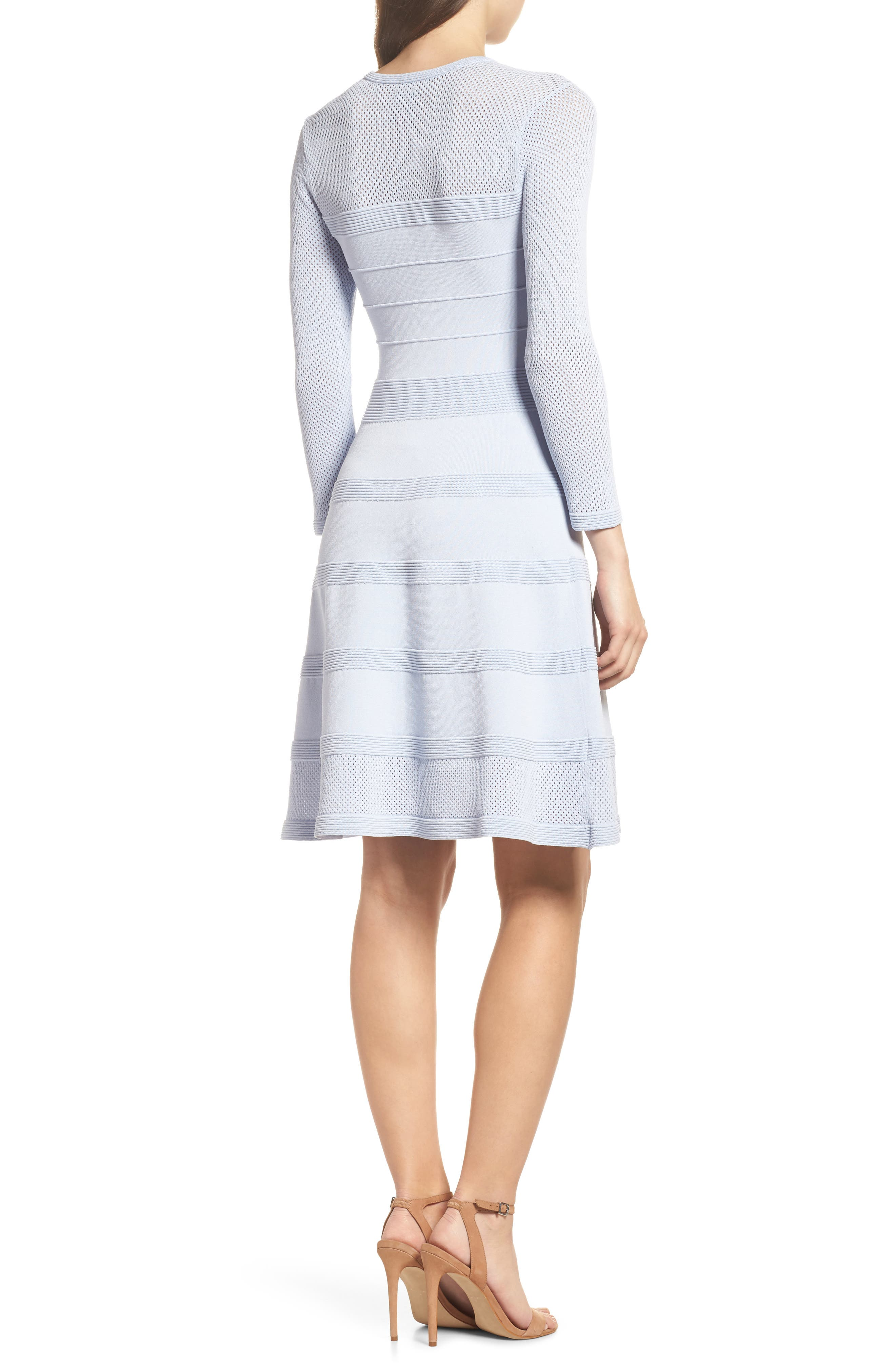 Mix Stitch Pointelle Fit & Flare Dress,                             Alternate thumbnail 2, color,                             Blue