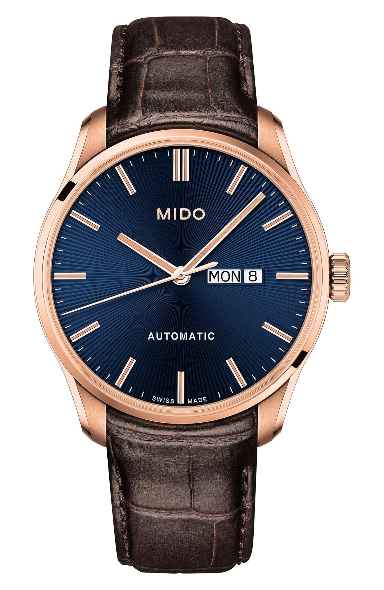 Main Image - Mido Belluna II Leather Strap Watch, 42mm