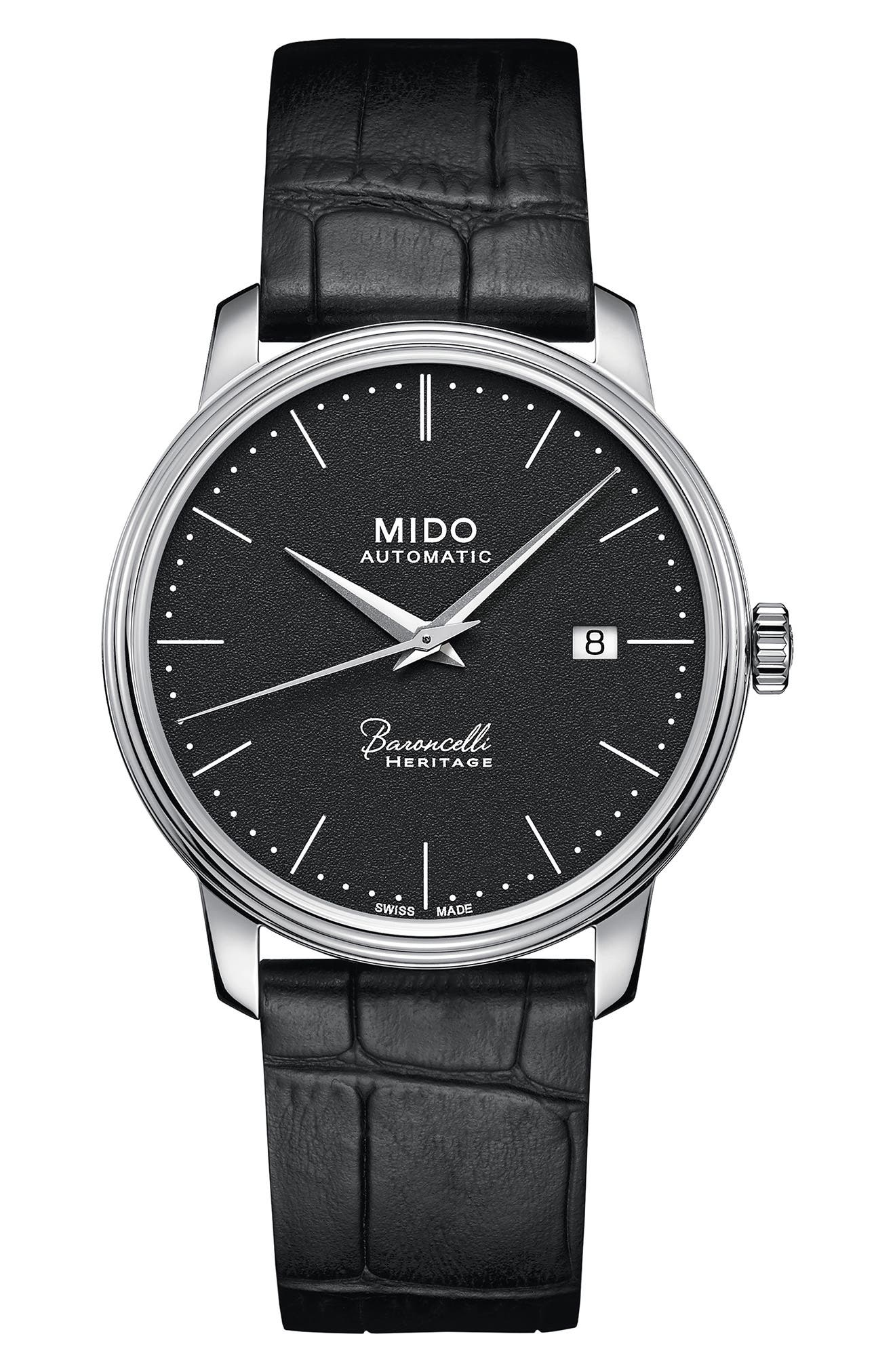 Alternate Image 1 Selected - MIDO Baroncelli Heritage Automatic Leather Strap Watch, 39mm