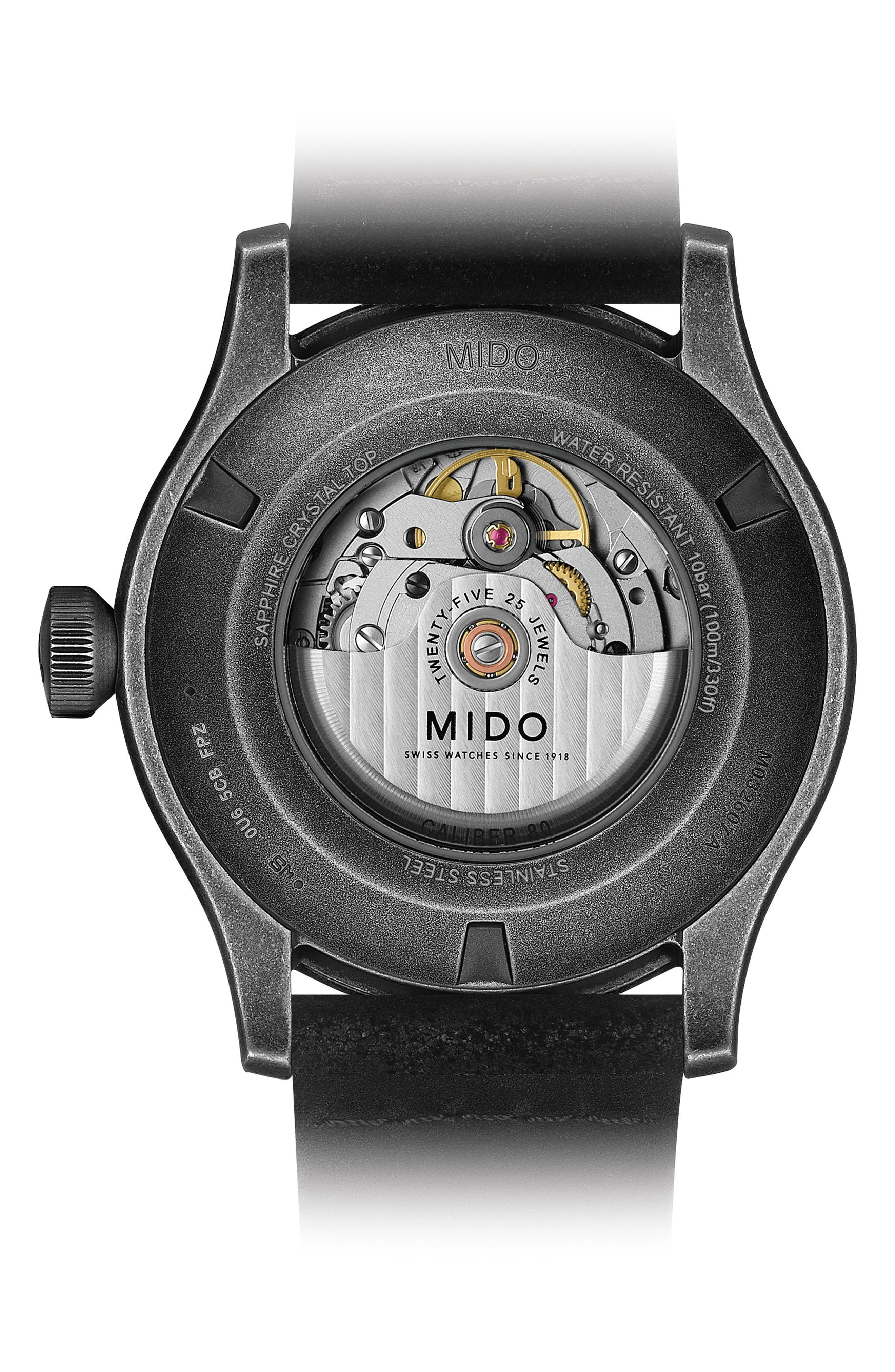 Alternate Image 2  - MIDO Multifort Escape Leather Strap Watch, 44mm