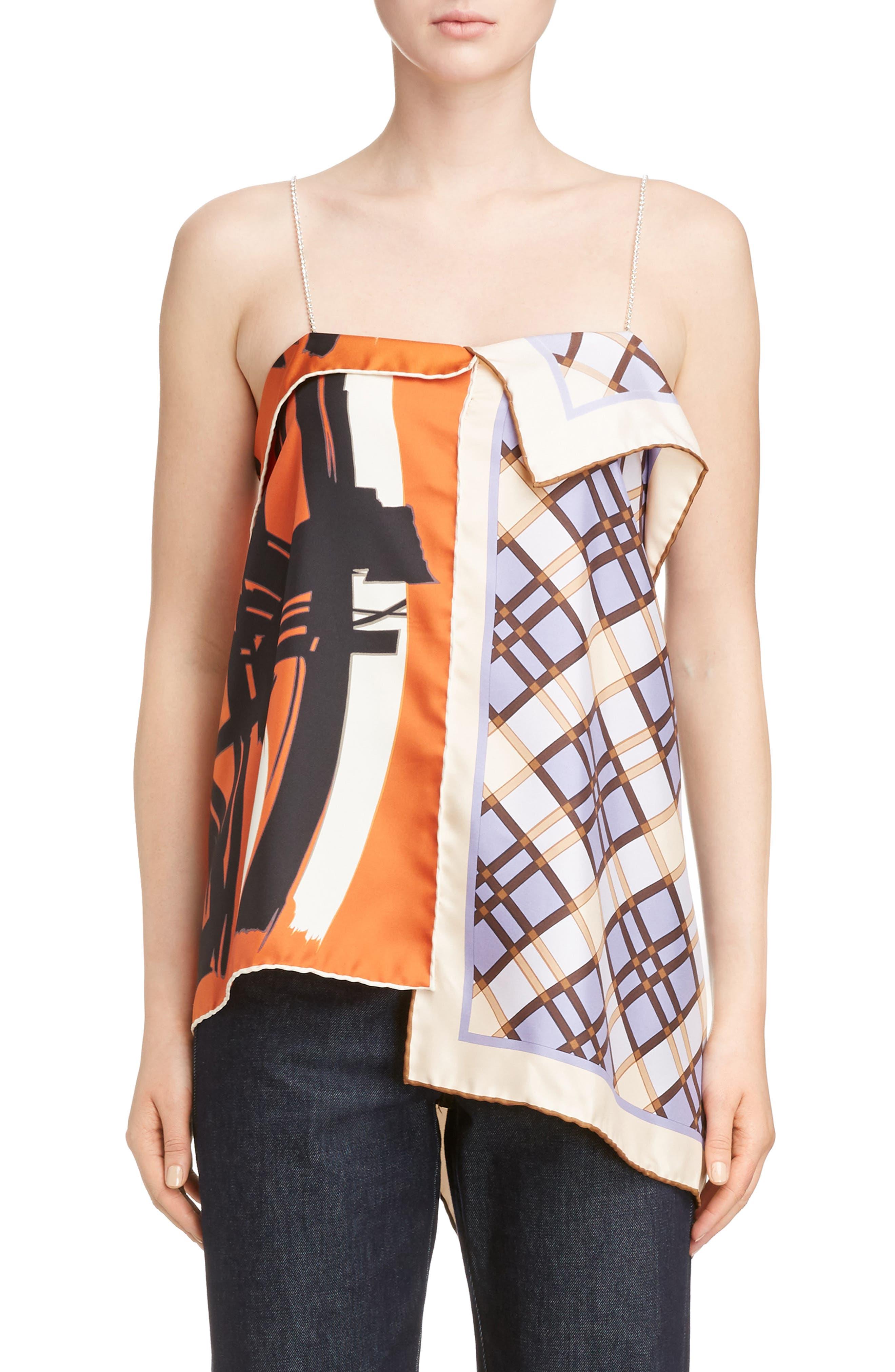 Dries Van Noten Scarf Print Crystal Strap Silk Top