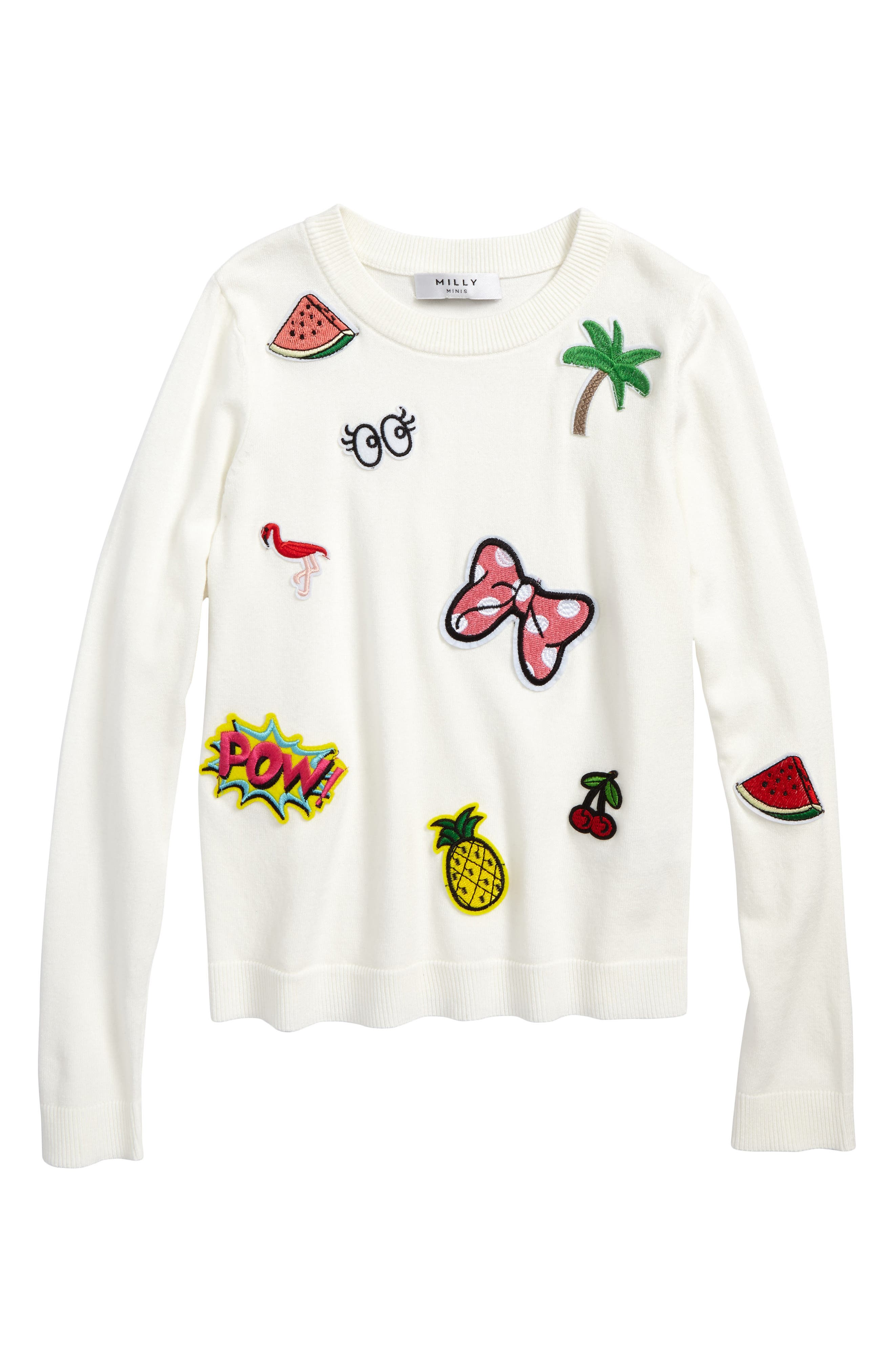 Patch Pullover Sweater,                         Main,                         color, White