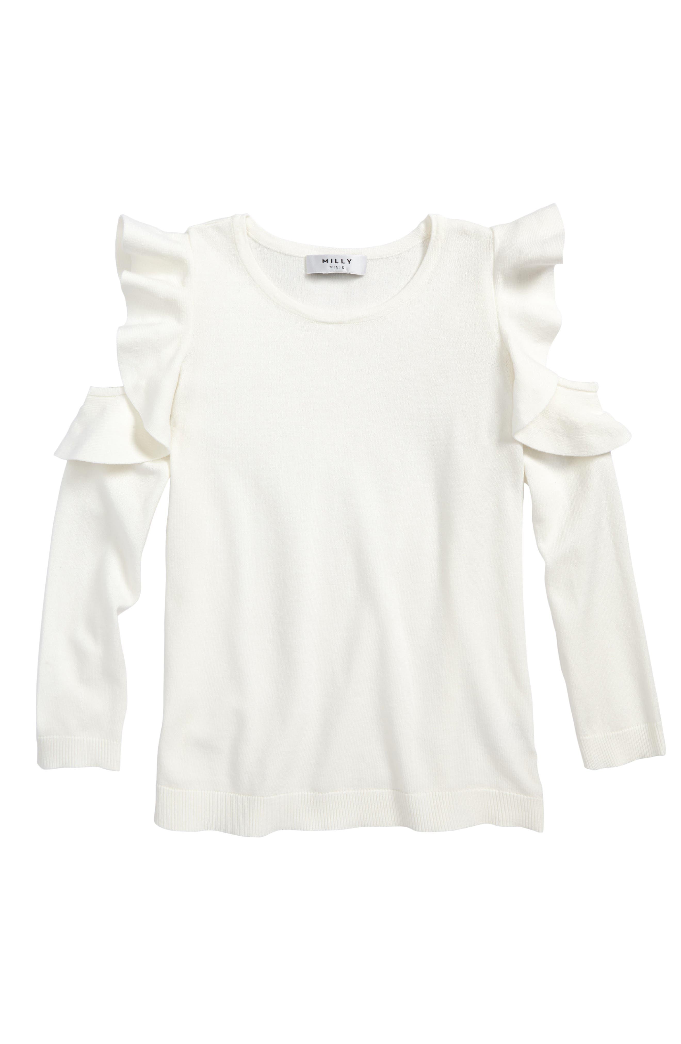 Cold Shoulder Pullover,                         Main,                         color, White