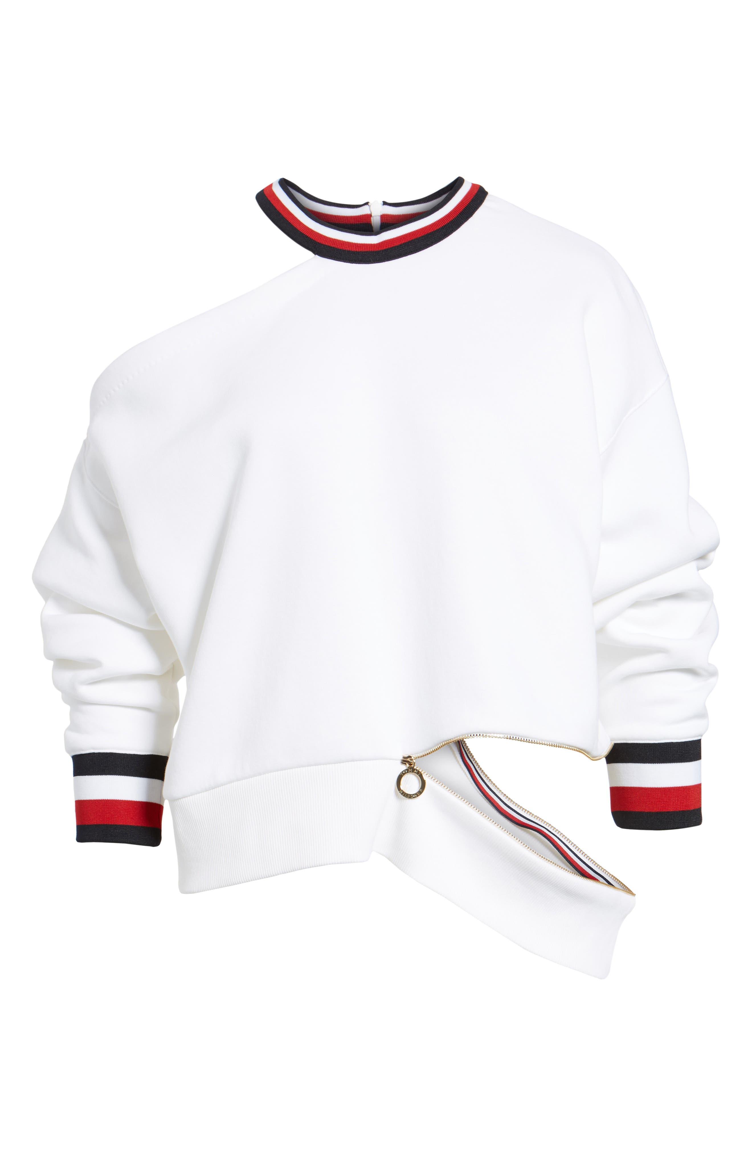 x Gigi Hadid Cold Shoulder Sweatshirt,                             Alternate thumbnail 8, color,                             Classic White