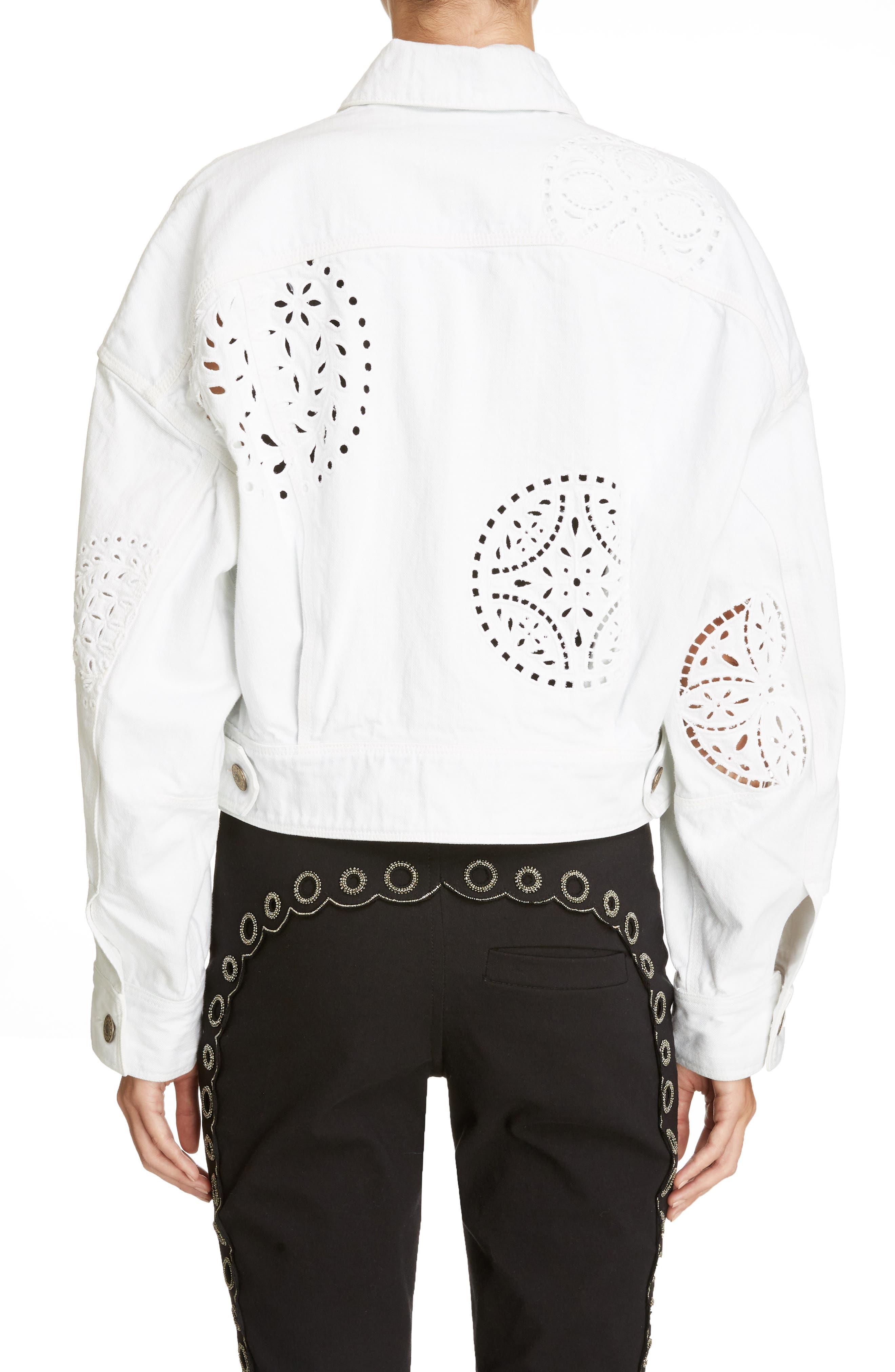 Broderie Anglaise Denim Jacket,                             Alternate thumbnail 2, color,                             White