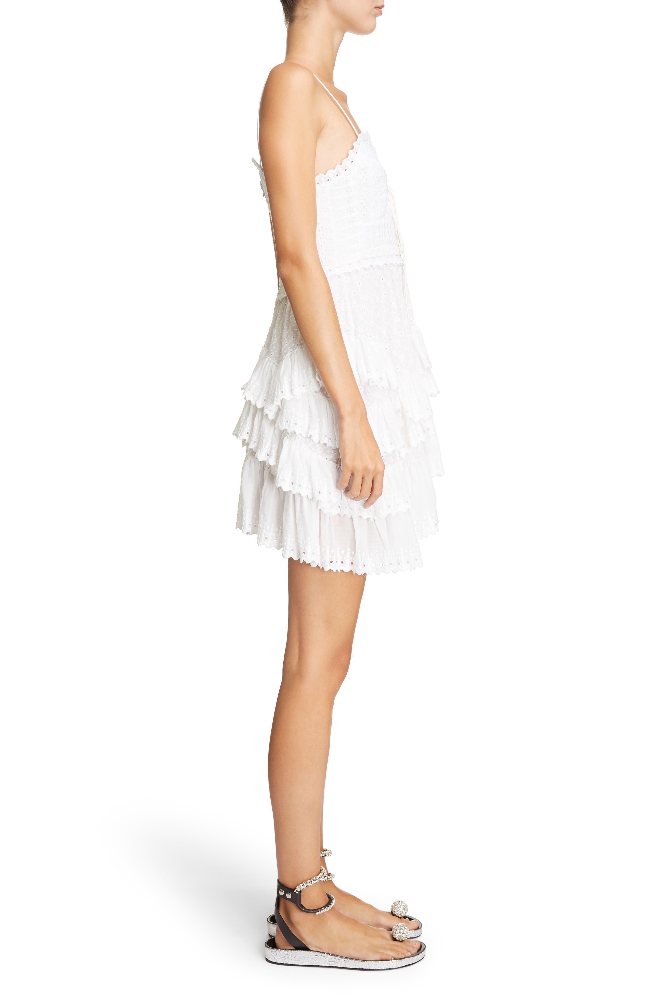 Ruffle Skirt Broderie Anglaise Dress,                             Alternate thumbnail 3, color,                             White
