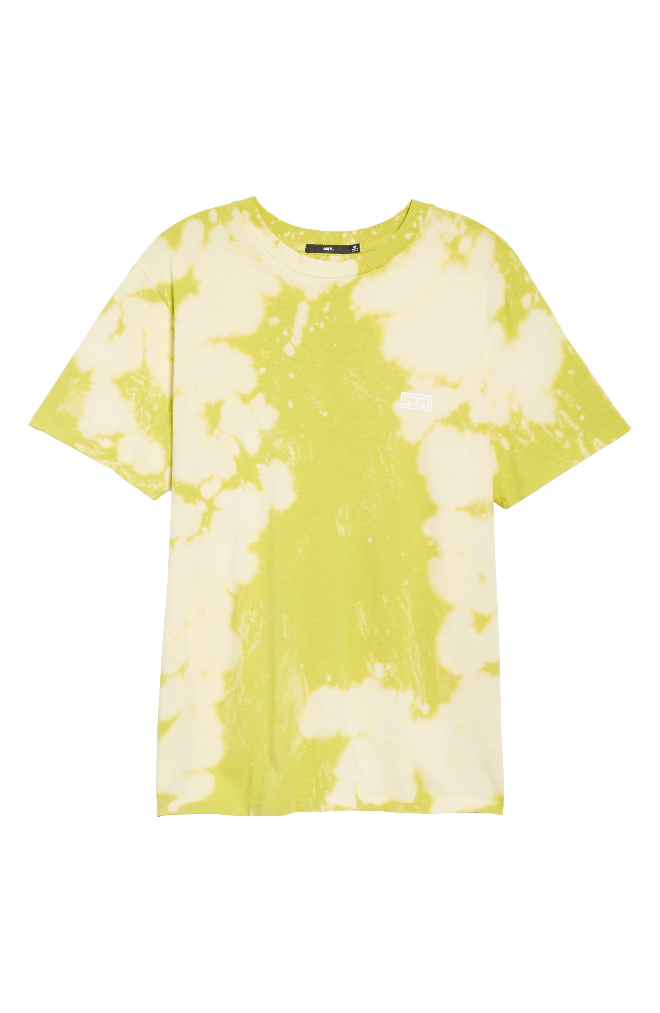 Jumble Lo-Fi Bleach Tie Dye T-Shirt,                             Alternate thumbnail 6, color,                             Safety Green
