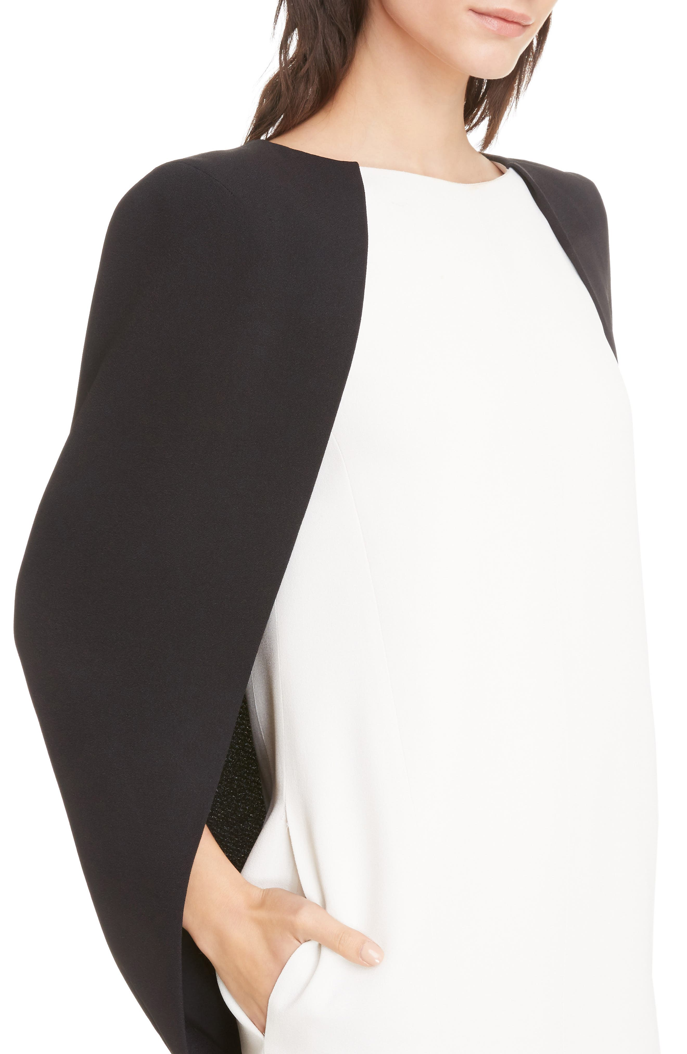 Colorblock Crepe Cape Dress,                             Alternate thumbnail 4, color,                             Ivory