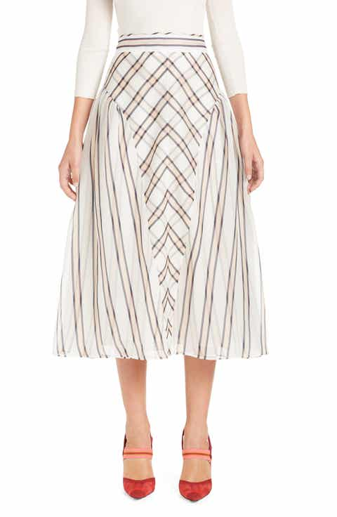 Fendi Stripe & Check A-Line Silk Skirt