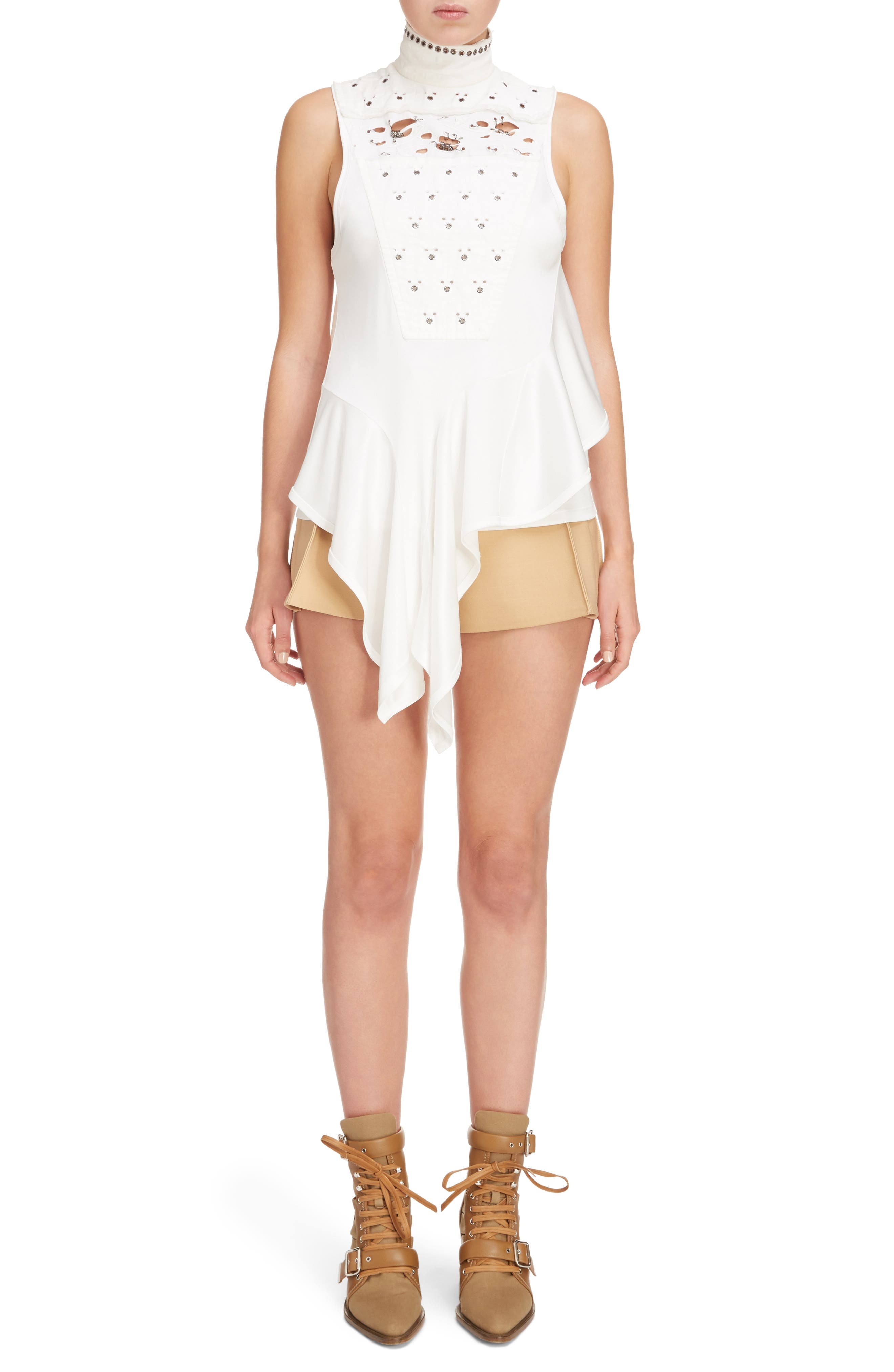 Side Pleat Wool & Silk Blend Shorts,                             Alternate thumbnail 7, color,                             Quiet Brown