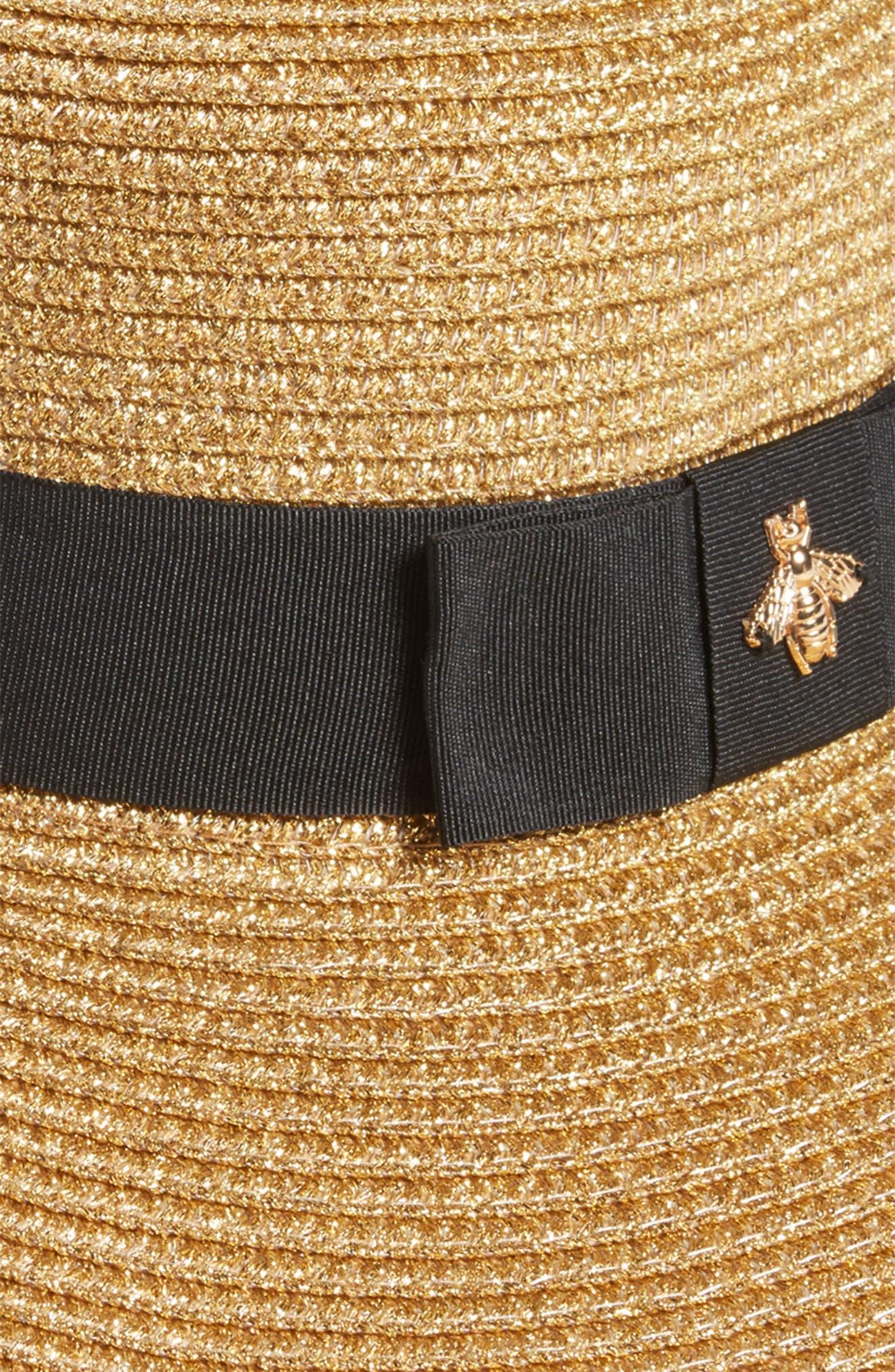 Glitter Bee Boater Hat,                             Alternate thumbnail 2, color,                             Natural/ Black