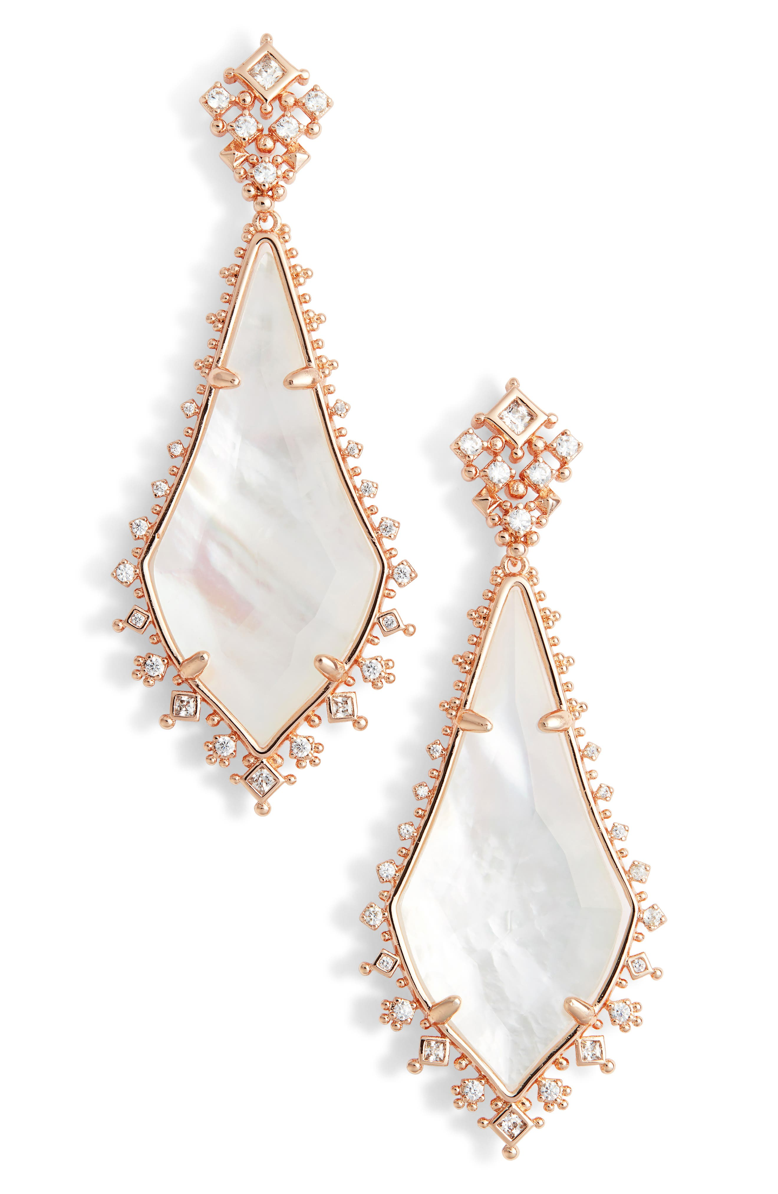 Martha Mother of Pearl Drop Earrings,                         Main,                         color, Rose Gold