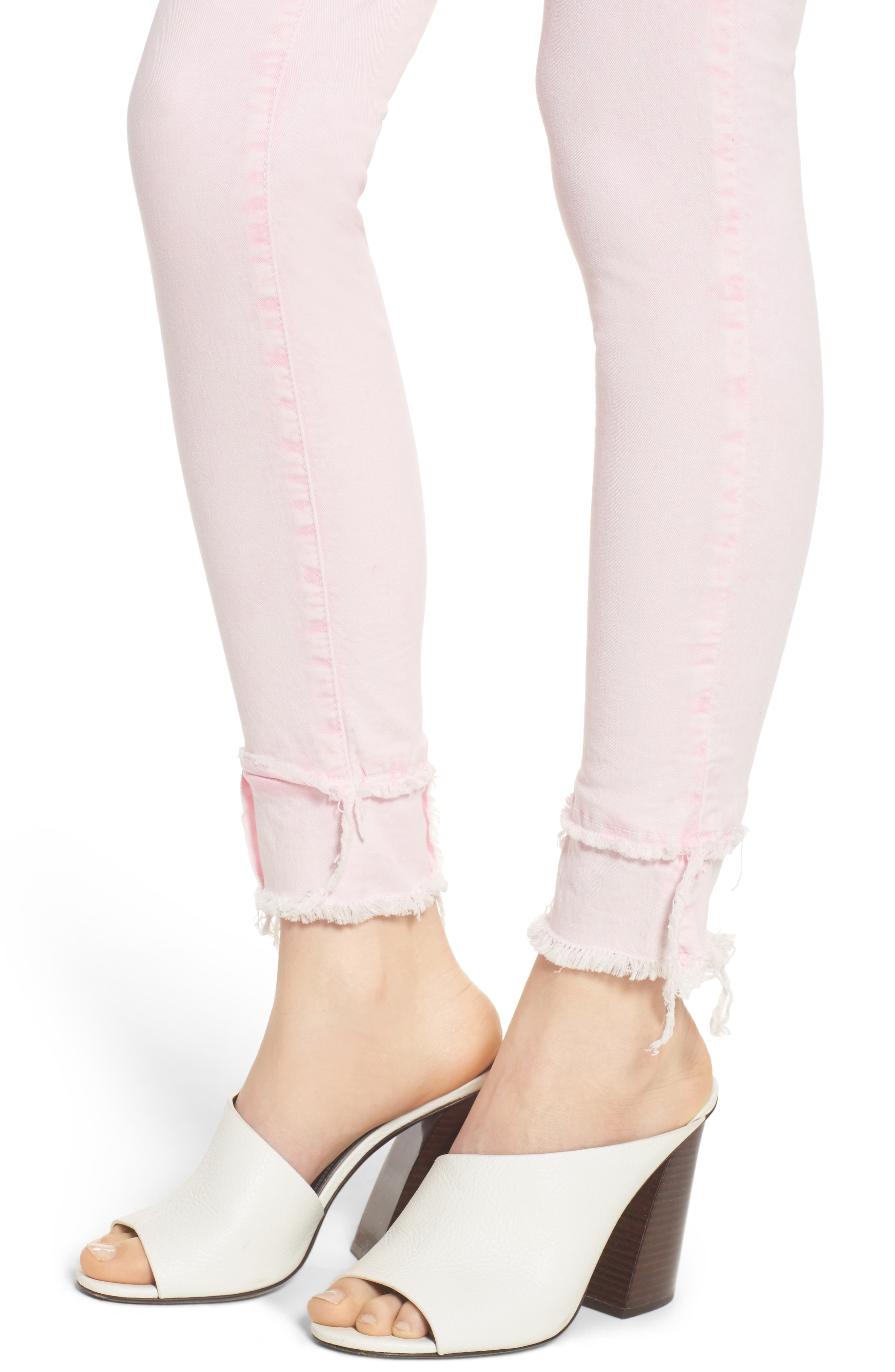 The Reade Classic Raw Hem Skinny Jeans,                             Alternate thumbnail 4, color,                             Pink