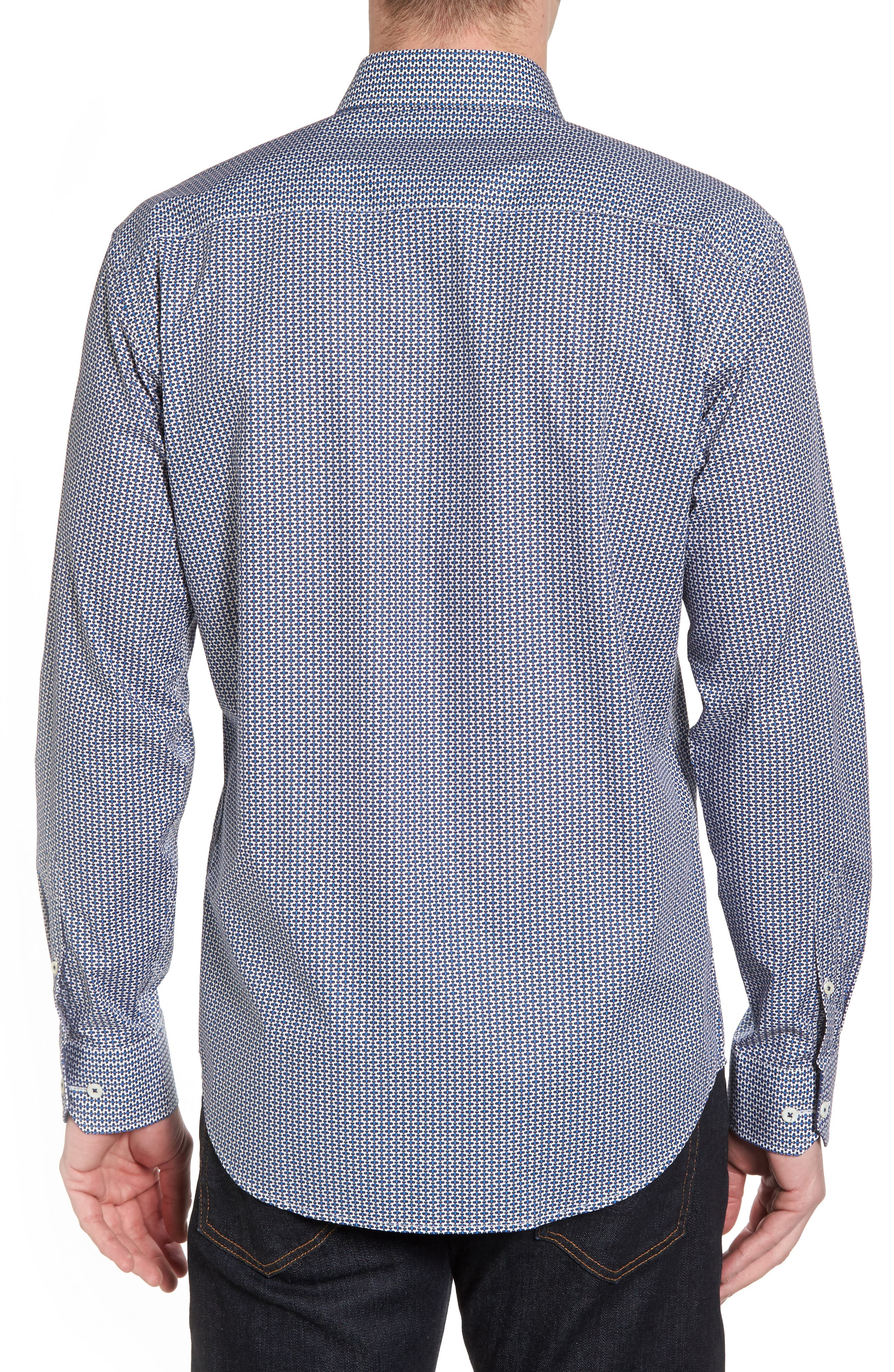 Shaped Fit Print Sport Shirt,                             Alternate thumbnail 2, color,                             Teal