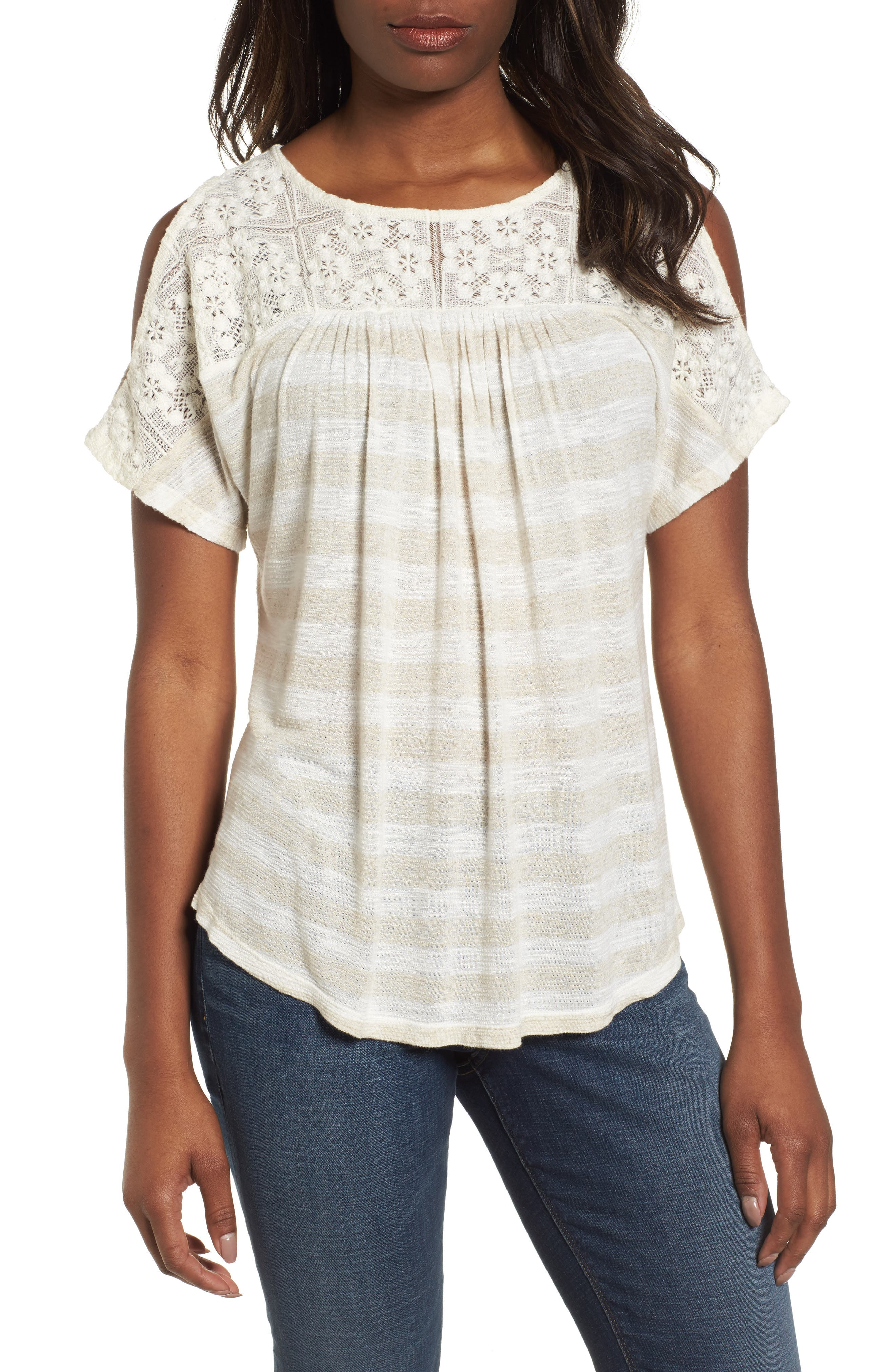 Lace Cold Shoulder Shirt,                         Main,                         color, Oatmeal Stripe