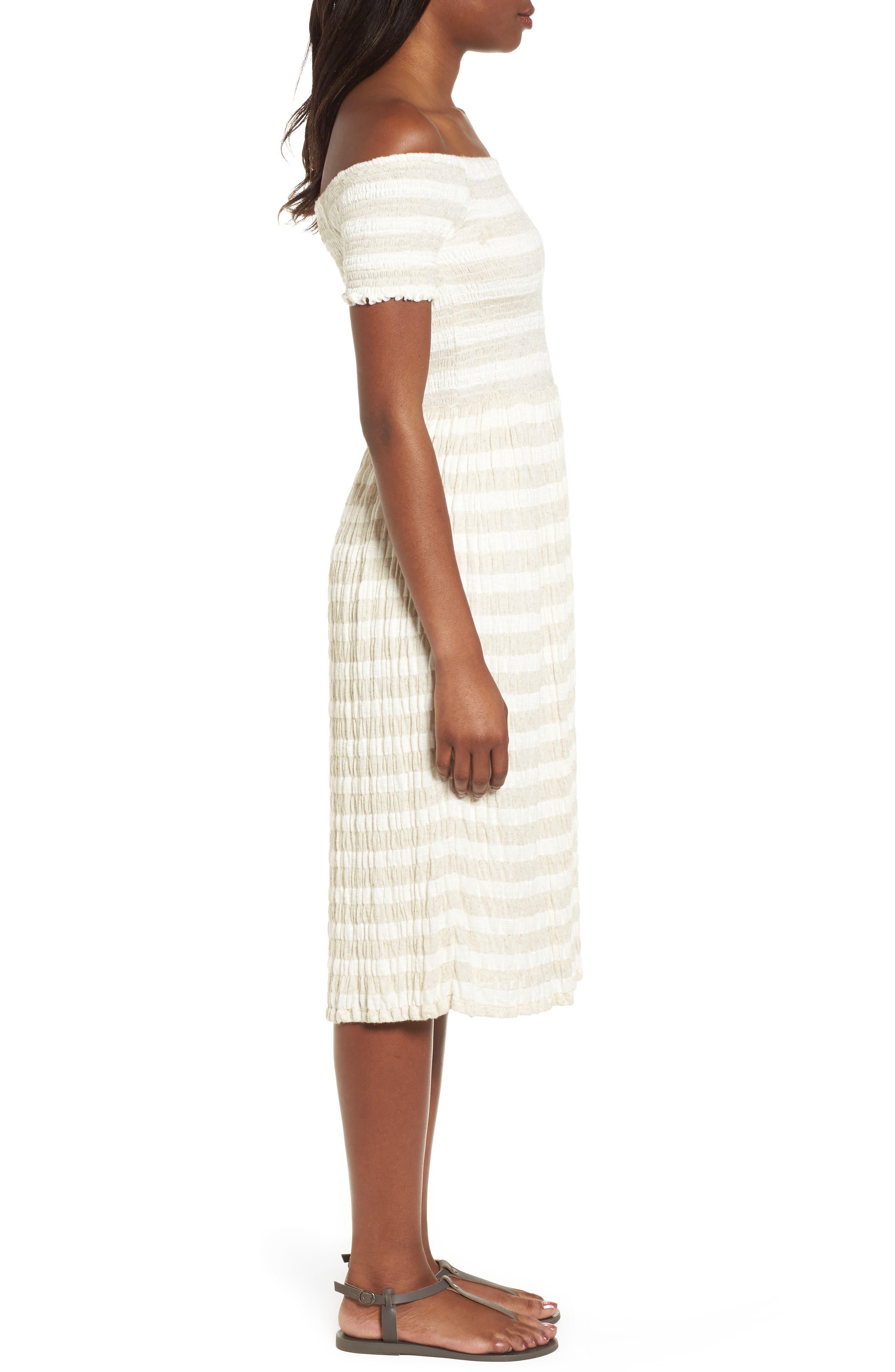 Stripe Smocked Midi Dress,                             Alternate thumbnail 3, color,                             Natural Multi