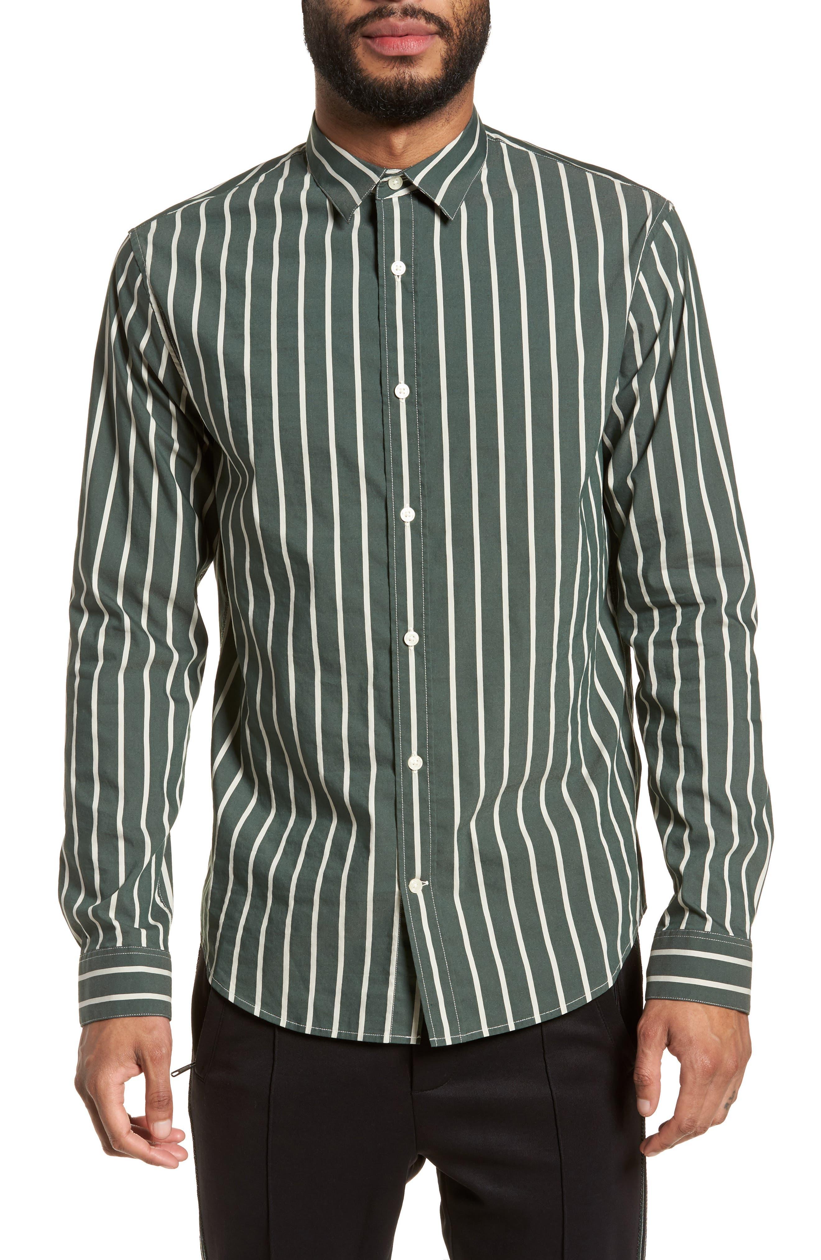 Column Stripe Sport Shirt,                             Main thumbnail 1, color,                             Deep Forest