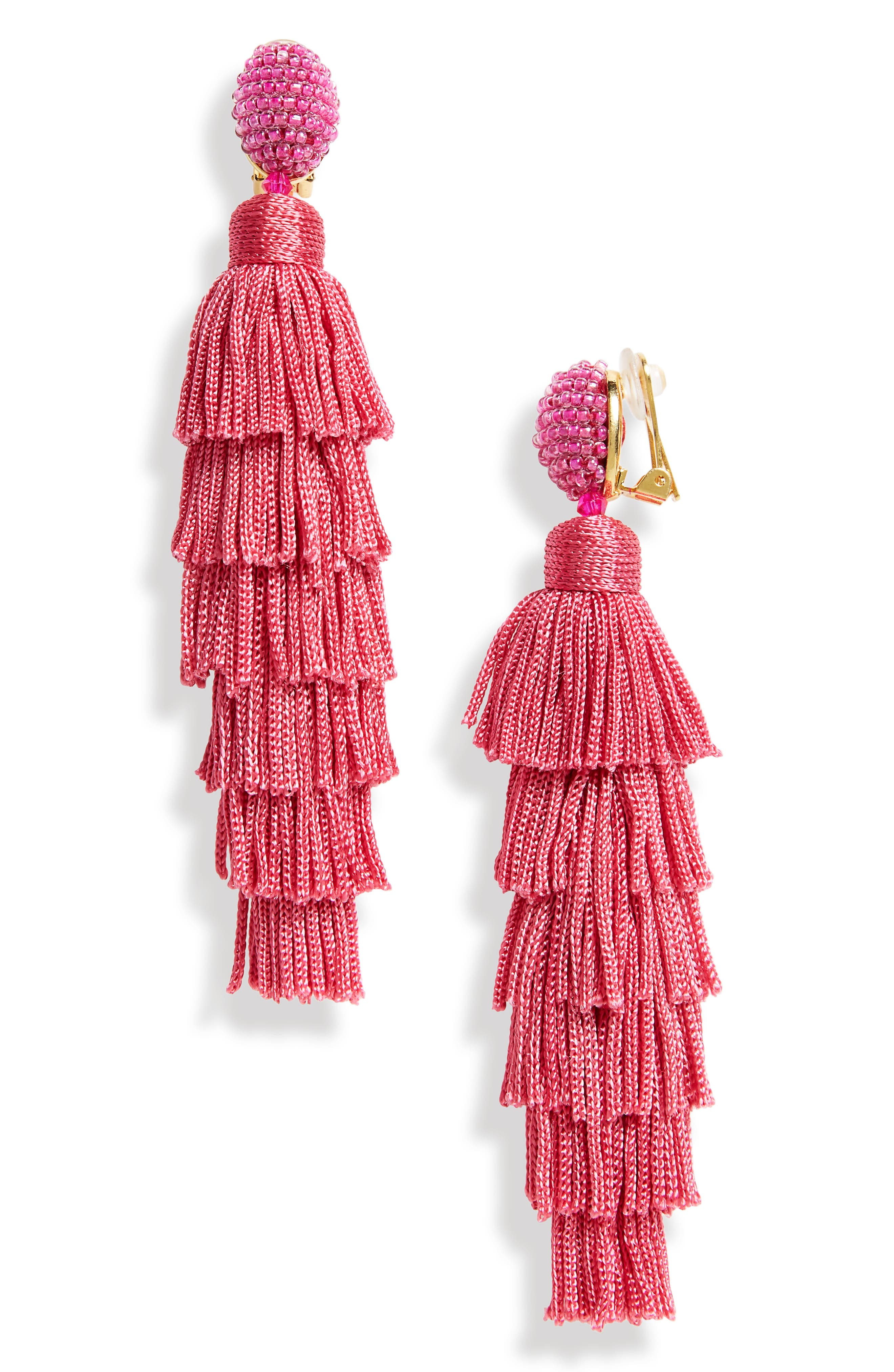 Tassel Clip Earrings,                         Main,                         color, Spinel