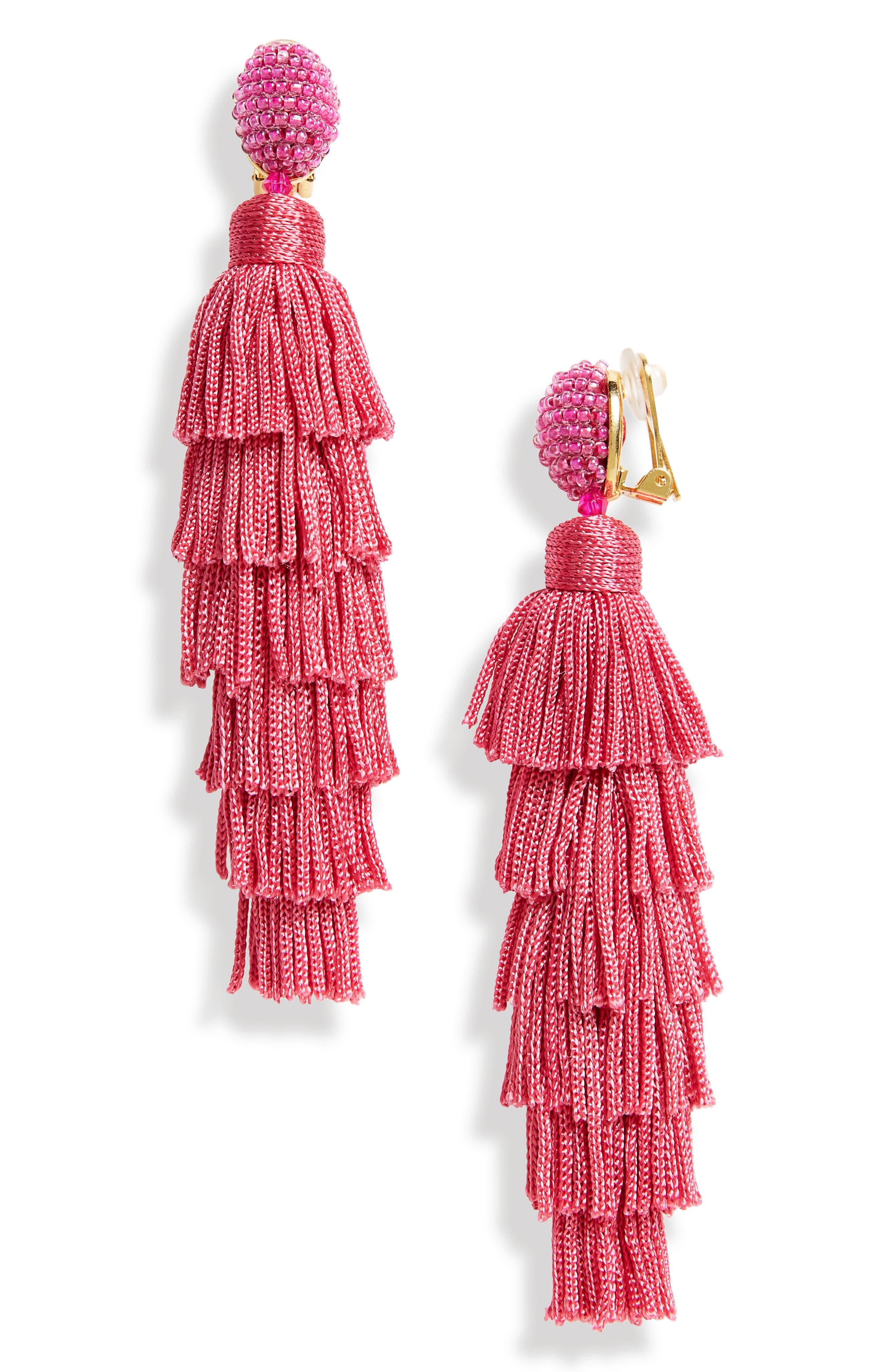 Oscar de la Renta Tassel Clip Earrings