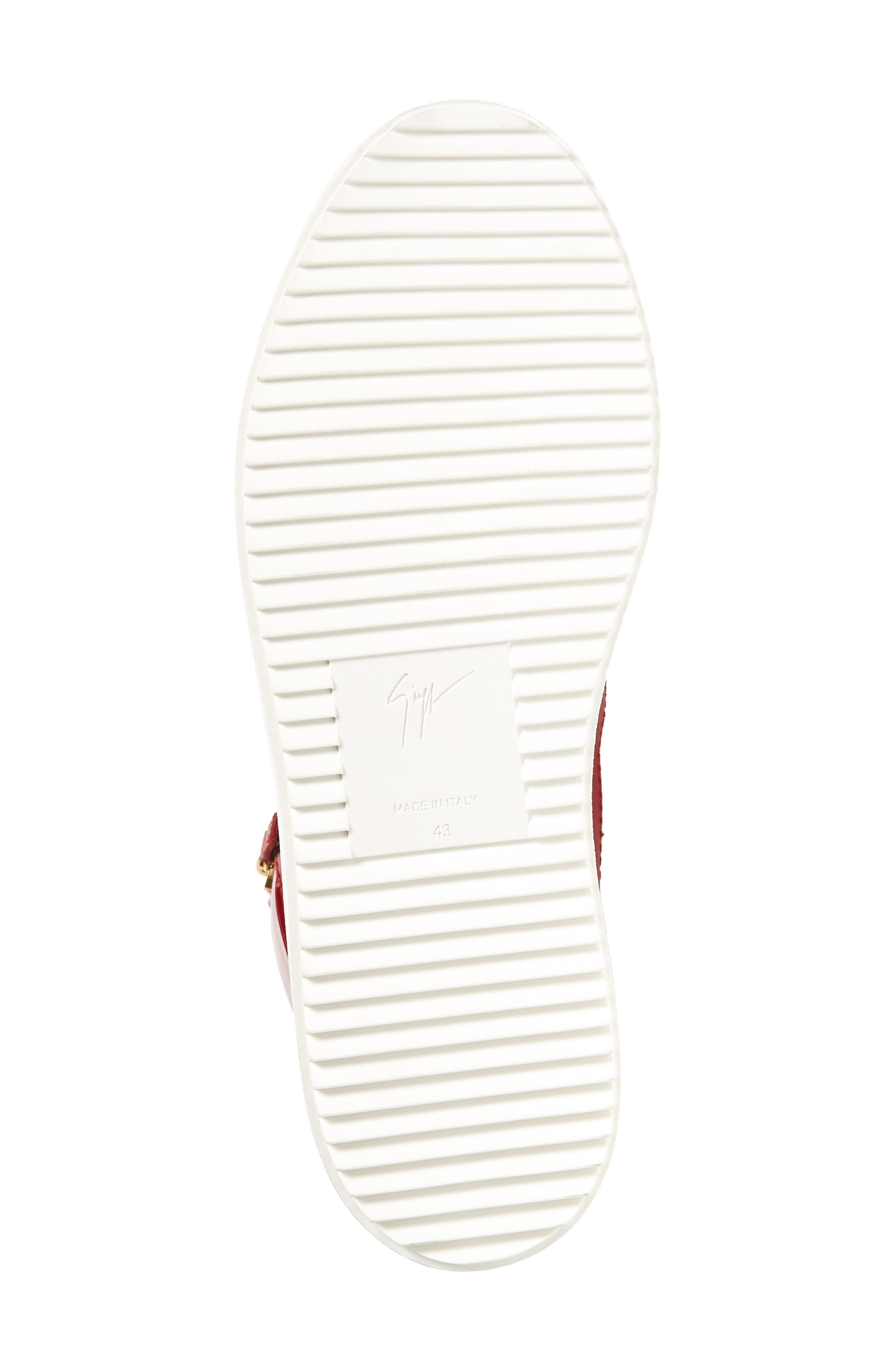 Double Zipper Mid Top Sneaker,                             Alternate thumbnail 6, color,                             Red W/ White Leather