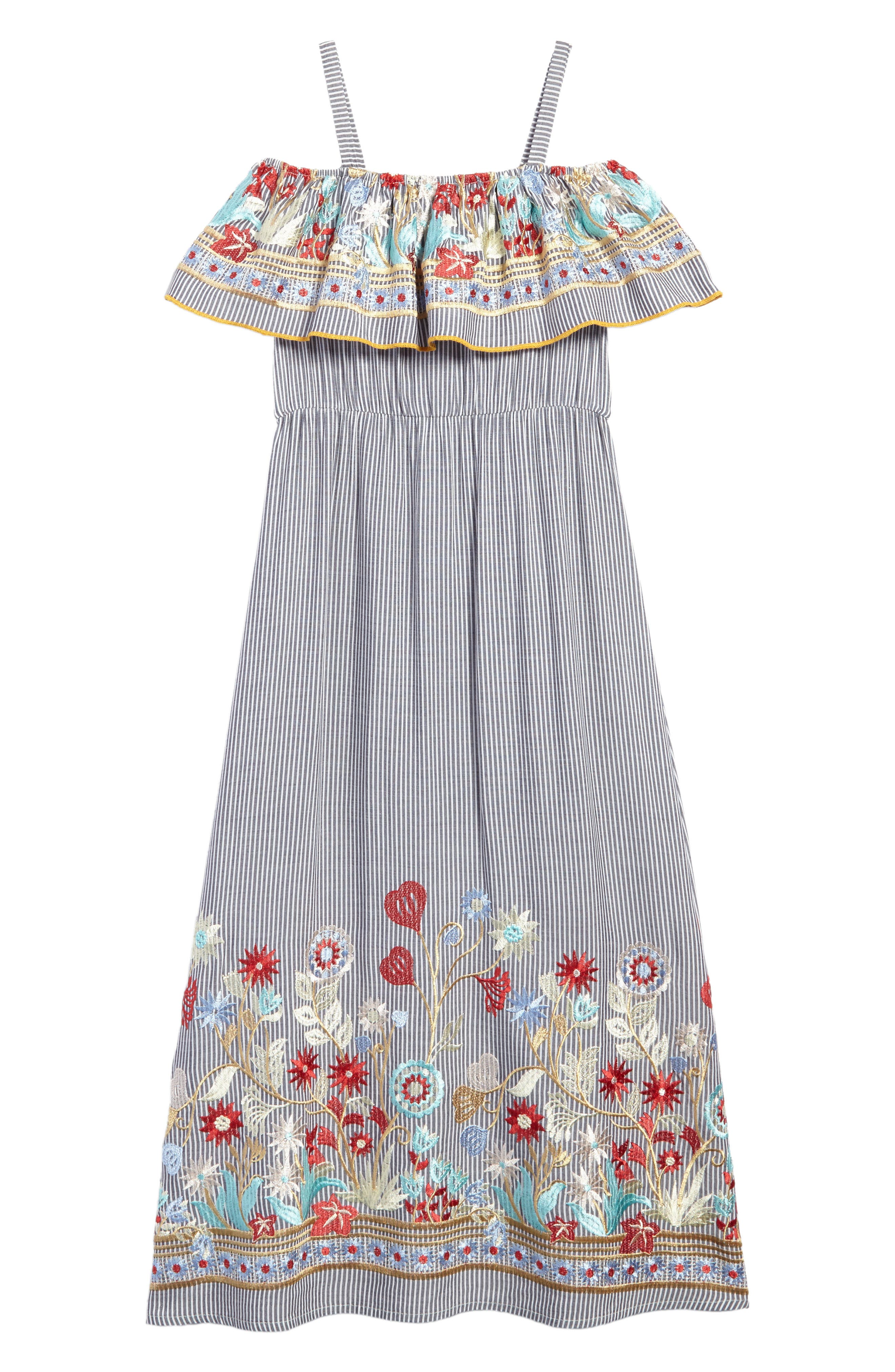 Flower Embroidered Maxi Dress,                         Main,                         color, Gray/ Ivory