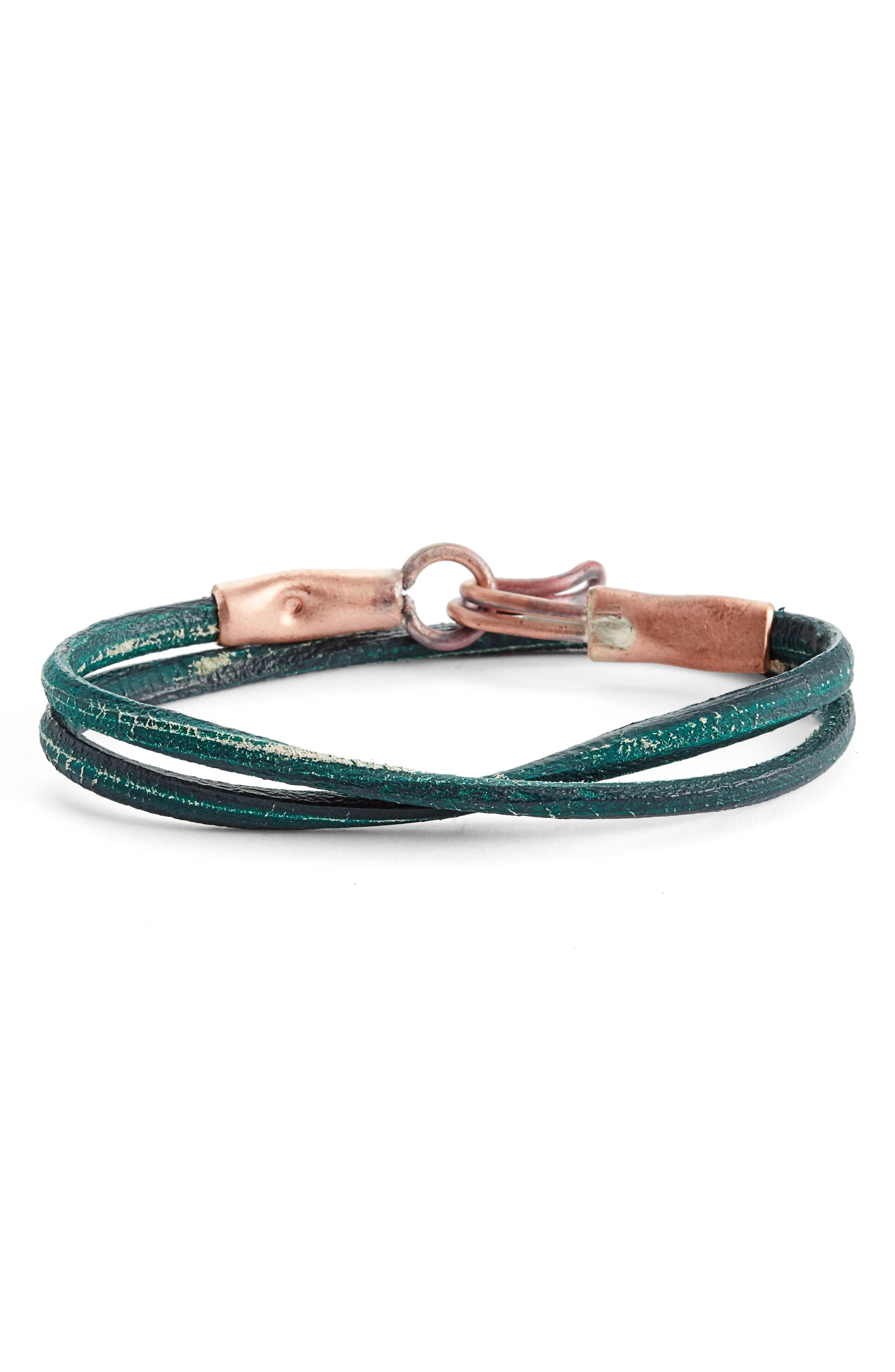 Cause & Effect Leather Wrap Bracelet,                             Main thumbnail 1, color,                             Green