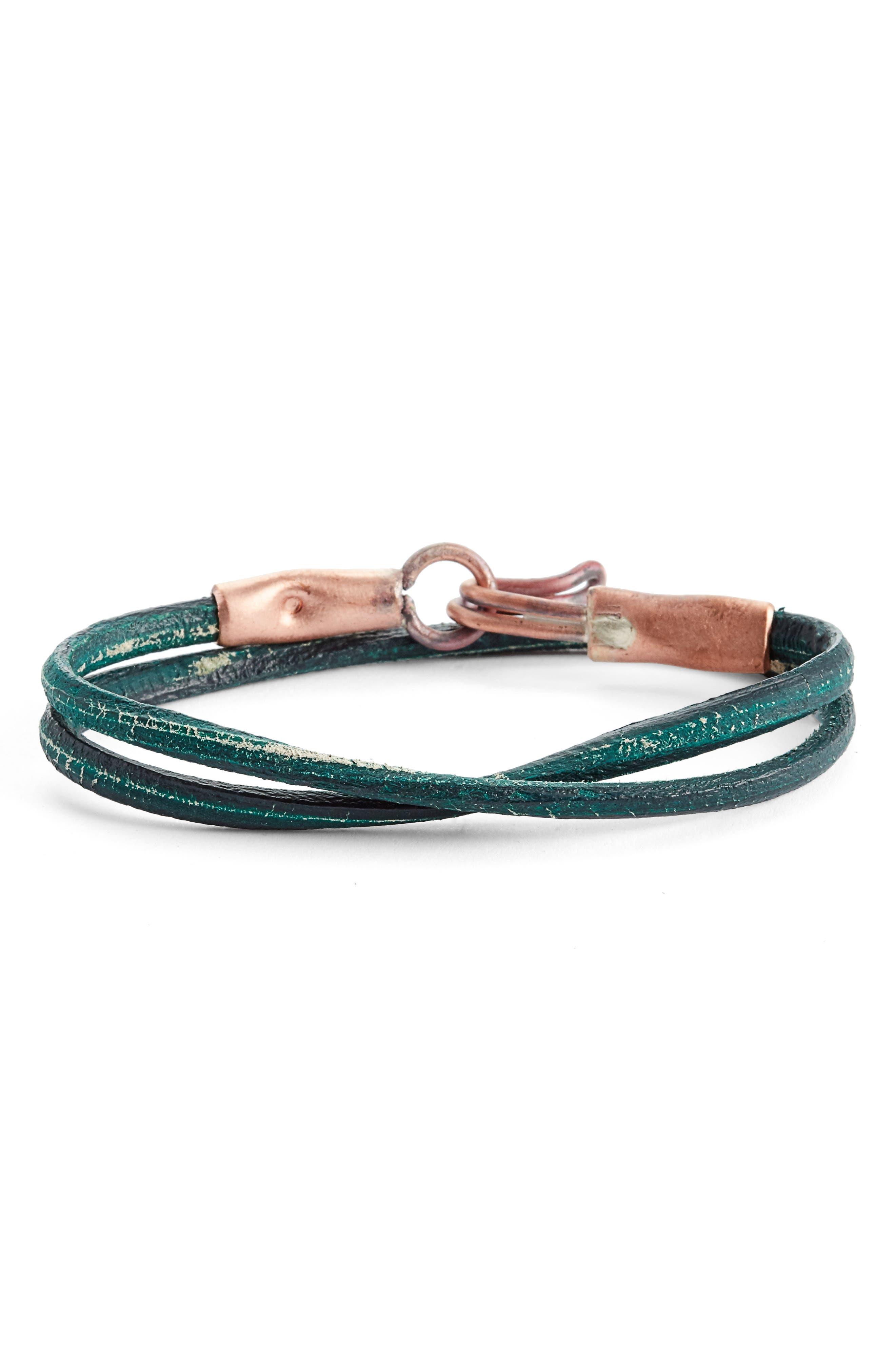 Cause & Effect Leather Wrap Bracelet,                         Main,                         color, Green