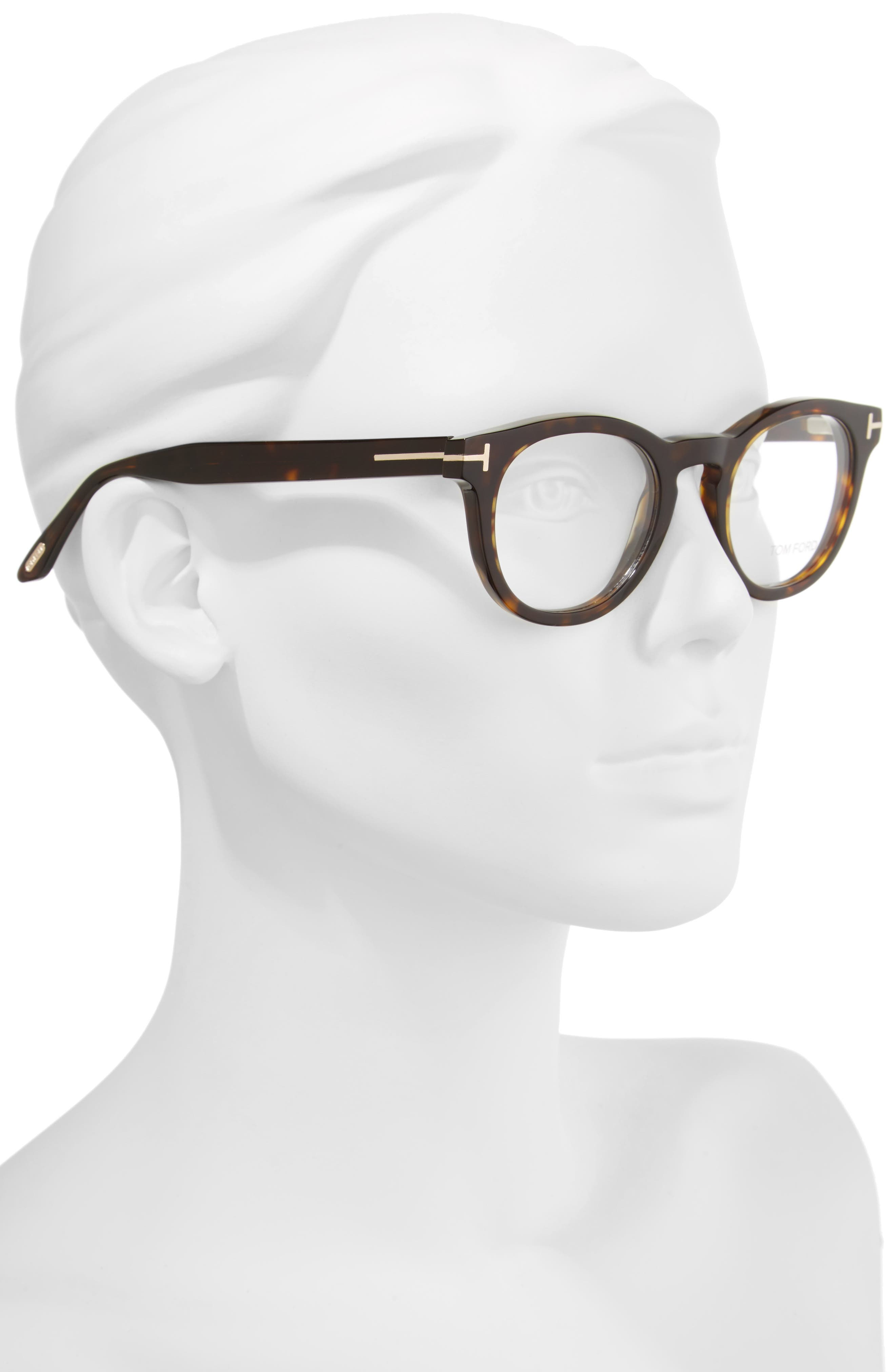 48mm Round Optical Glasses,                             Alternate thumbnail 2, color,                             Classic Dark Havana