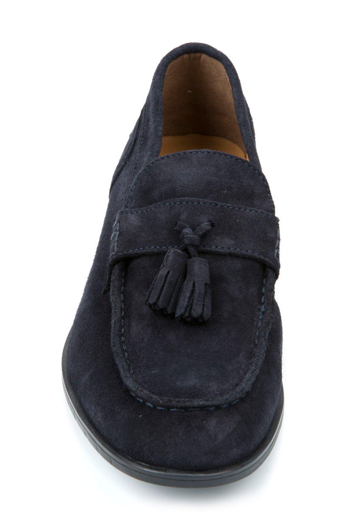 Bryceton 1 Tassel Loafer,                             Alternate thumbnail 4, color,                             Navy Suede