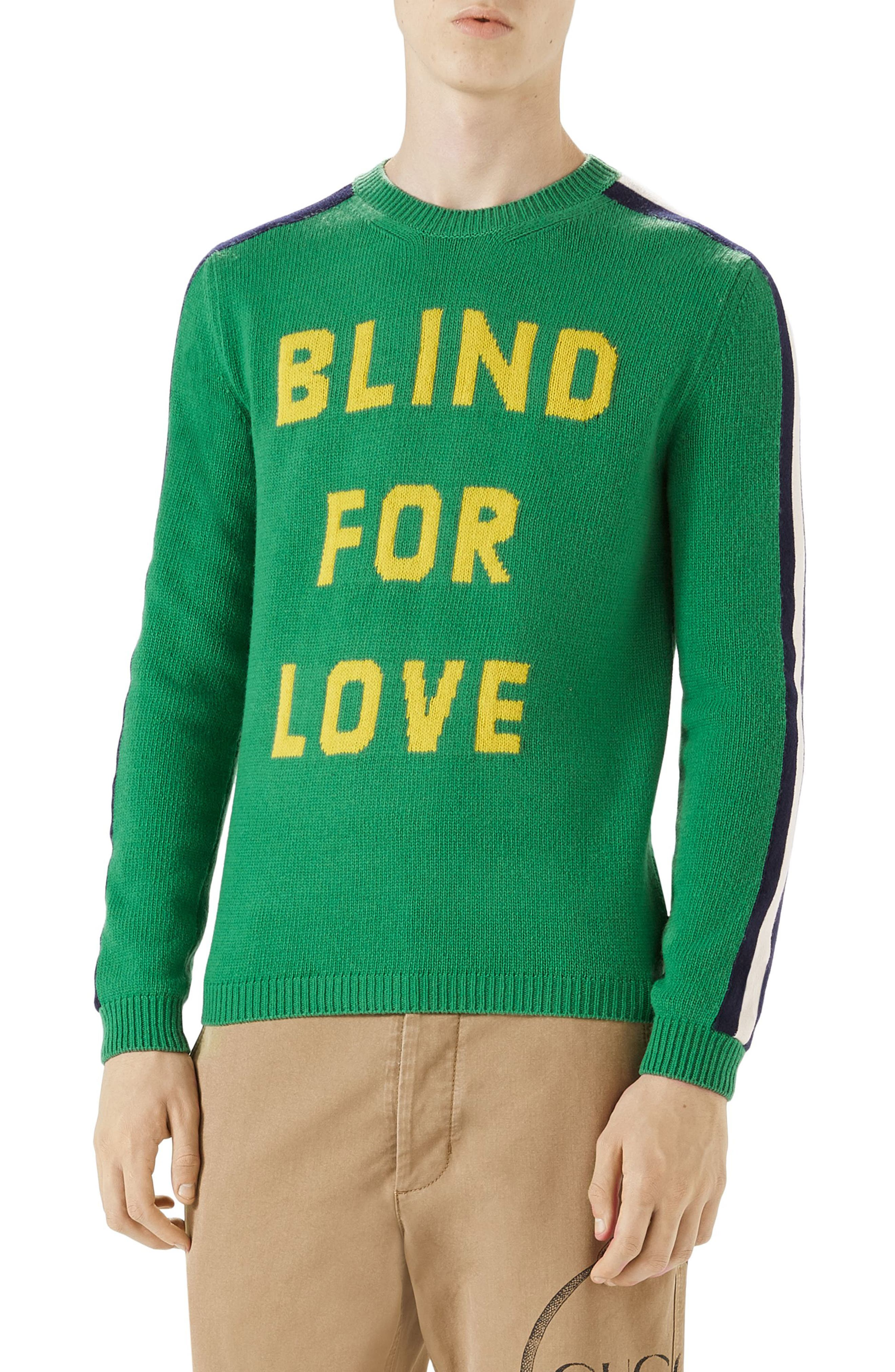 Main Image - Gucci Blind for Love Snake Wool Crewneck Sweater