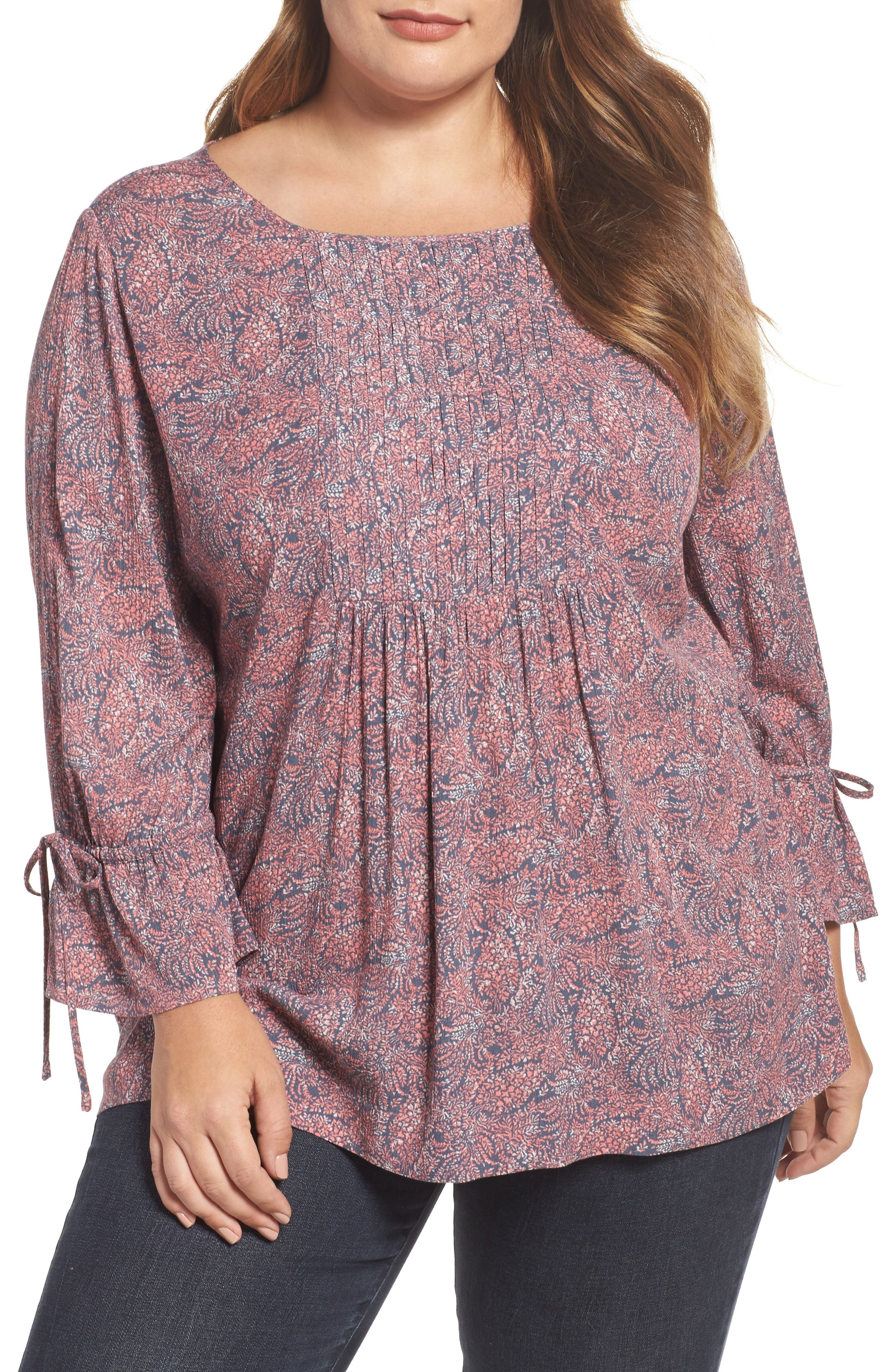 Tie Sleeve Print Top,                             Main thumbnail 1, color,                             Coral- Blue Blooming Floral