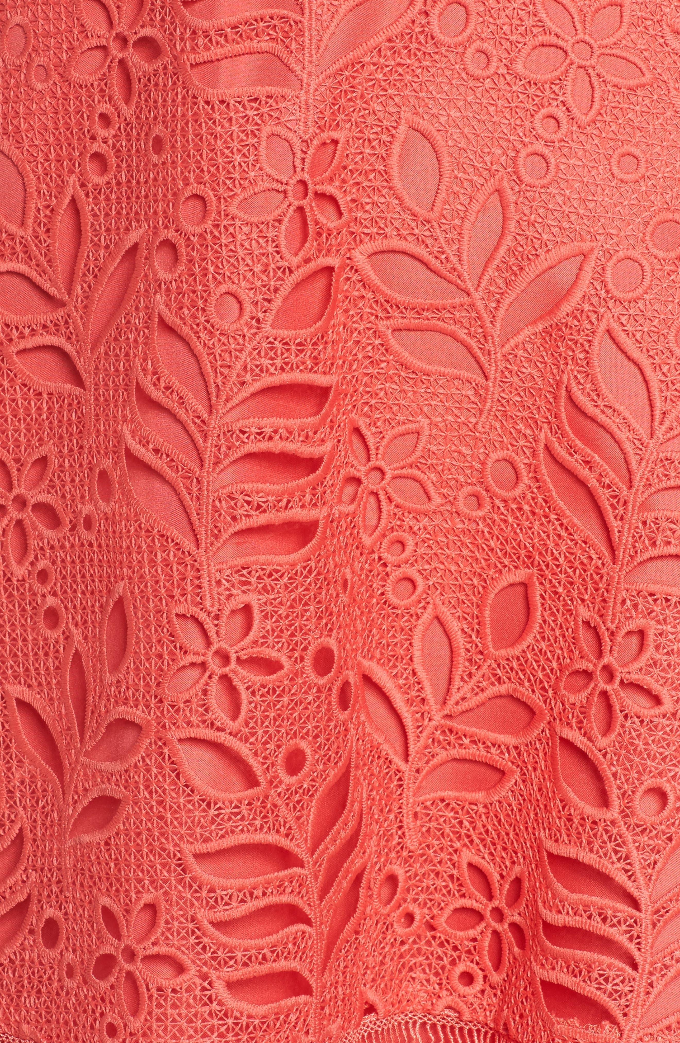 Ariane Mix Lace Dress,                             Alternate thumbnail 5, color,                             Cantaloupe