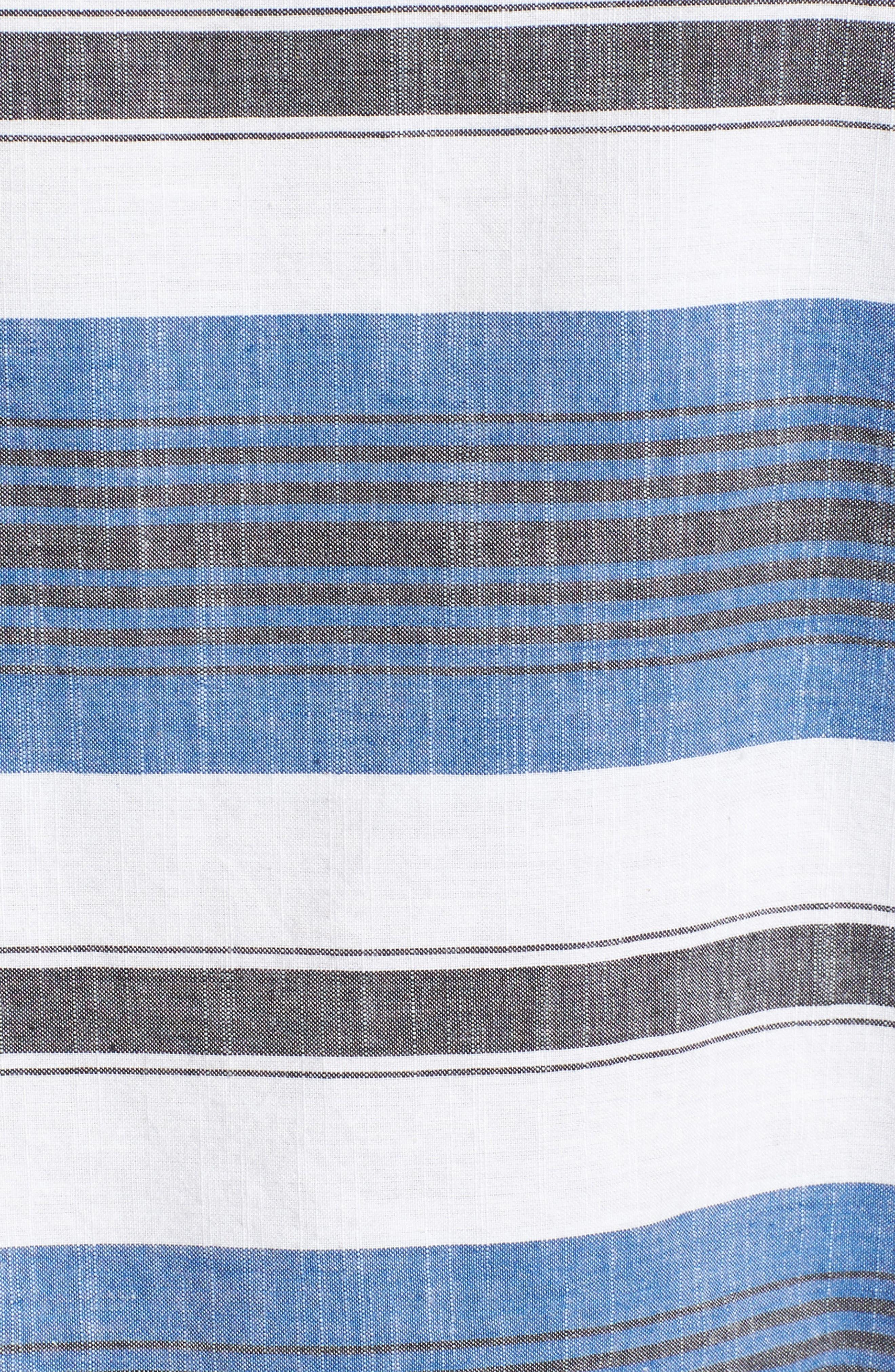 Stripe Cold Shoulder Top,                             Alternate thumbnail 5, color,                             Blue Multi