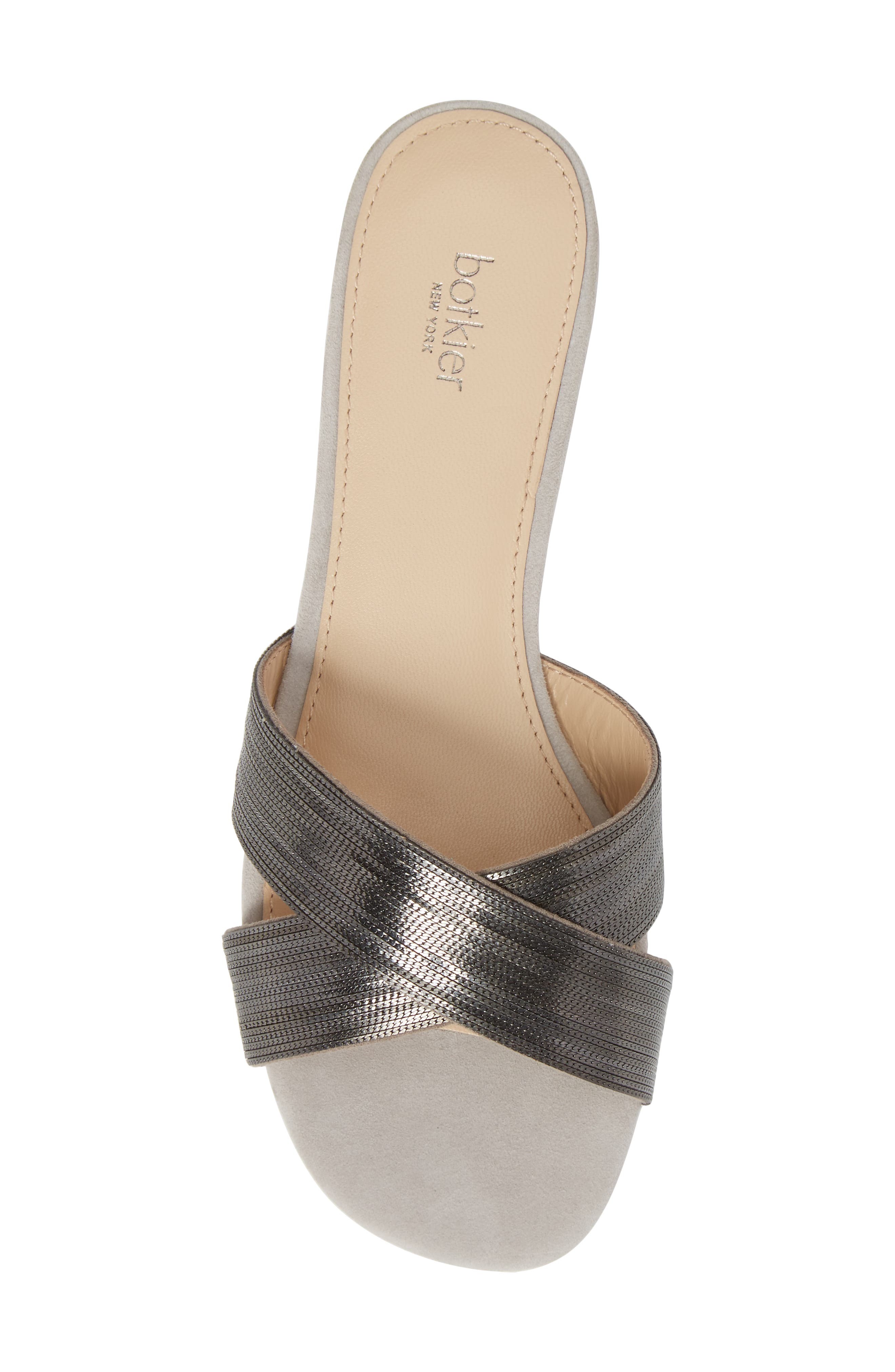 Millie Cross Strap Slide Sandal,                             Alternate thumbnail 5, color,                             Clay/ Gunmetal Suede
