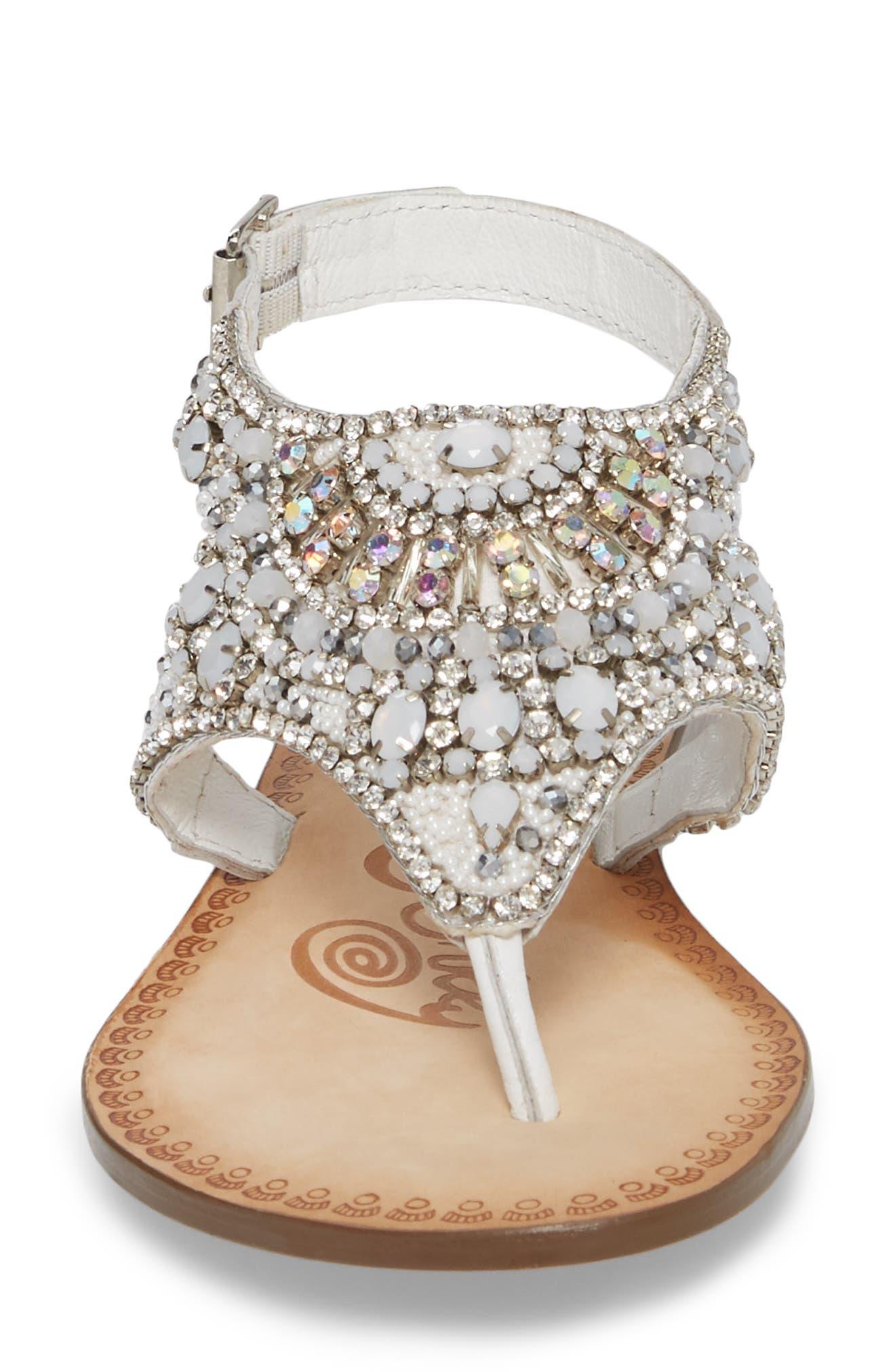 Iceberg Crystal Embellished Sandal,                             Alternate thumbnail 4, color,                             White Leather