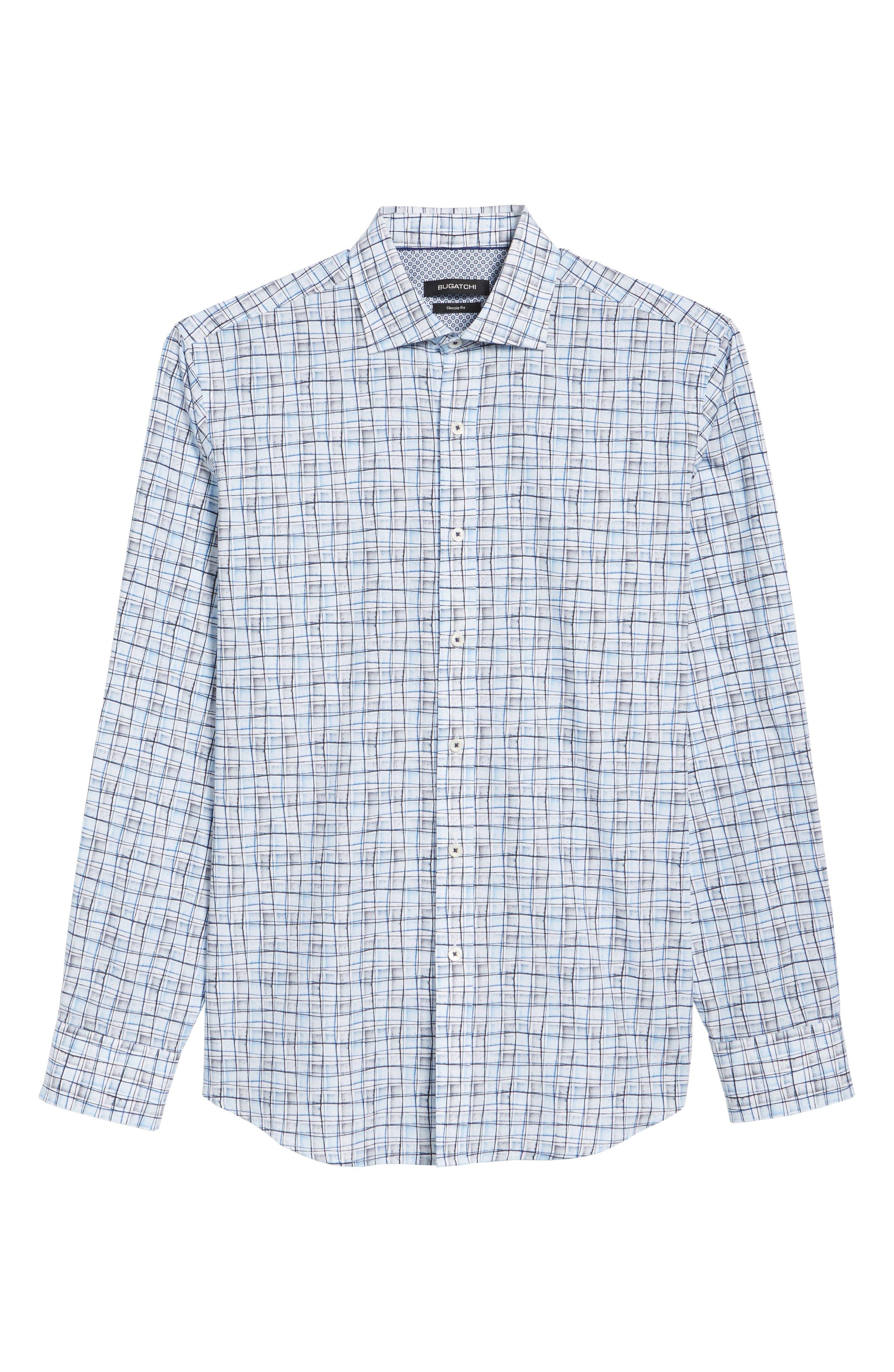 Regular Fit Grid Sport Shirt,                             Alternate thumbnail 6, color,                             Platinum