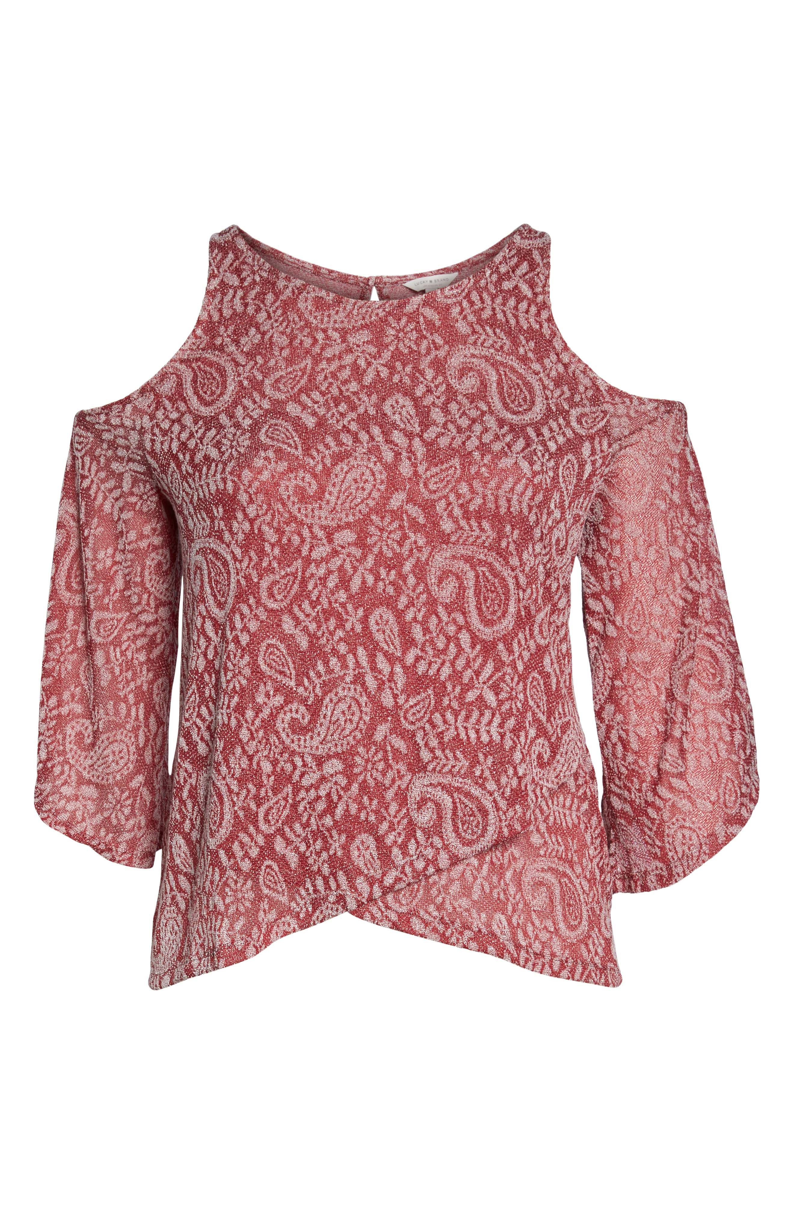 Alternate Image 6  - Lucky Brand Cold Shoulder Paisley Top (Plus Size)