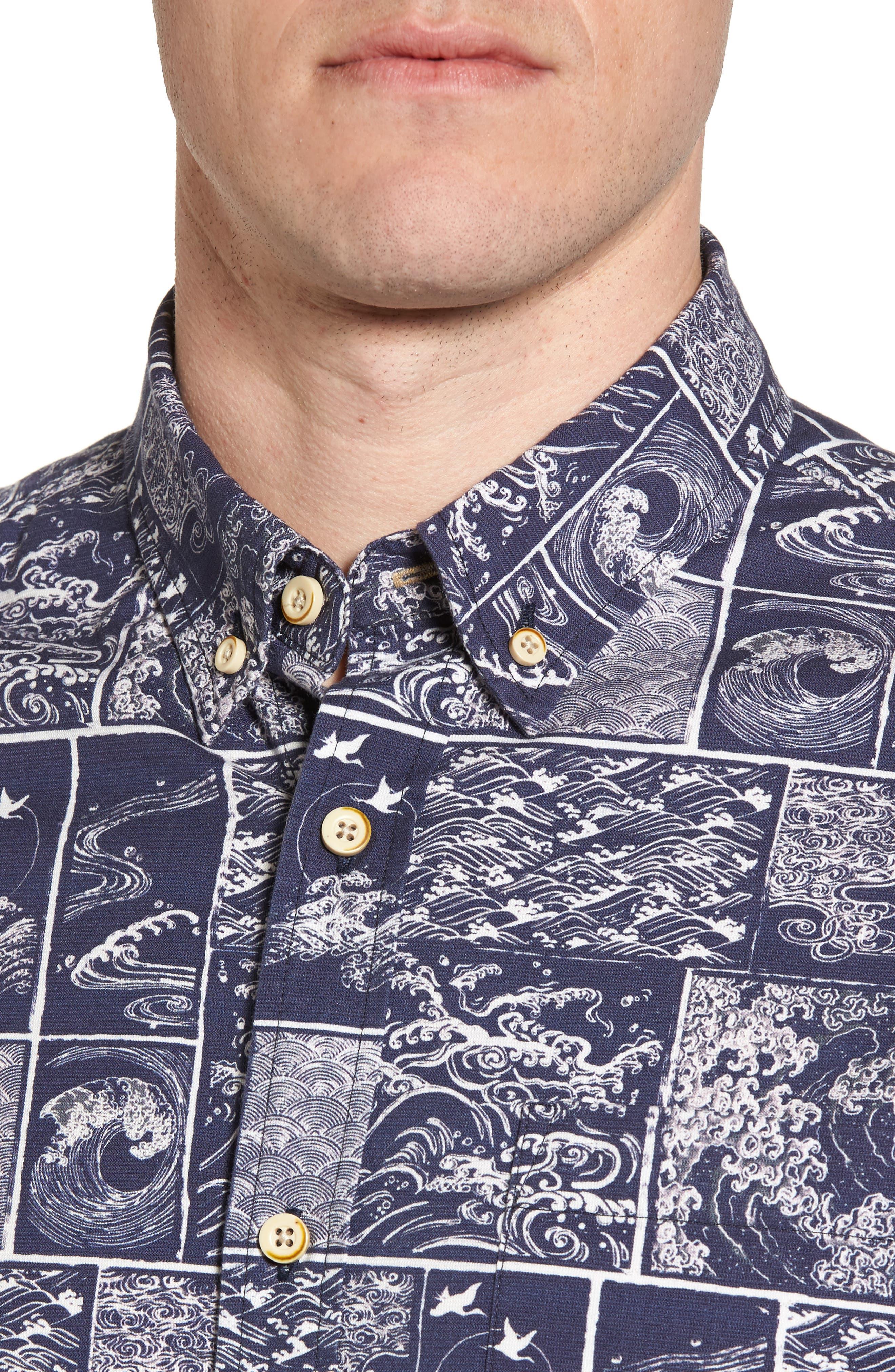 Wave Print Sport Shirt,                             Alternate thumbnail 4, color,                             Navy/ White